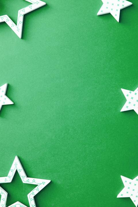photo of decorative polka dot star border on green