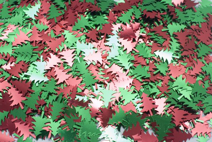 Christmas Tree Glitter - hundreds of metallic christmas tree shapes in red and green colours