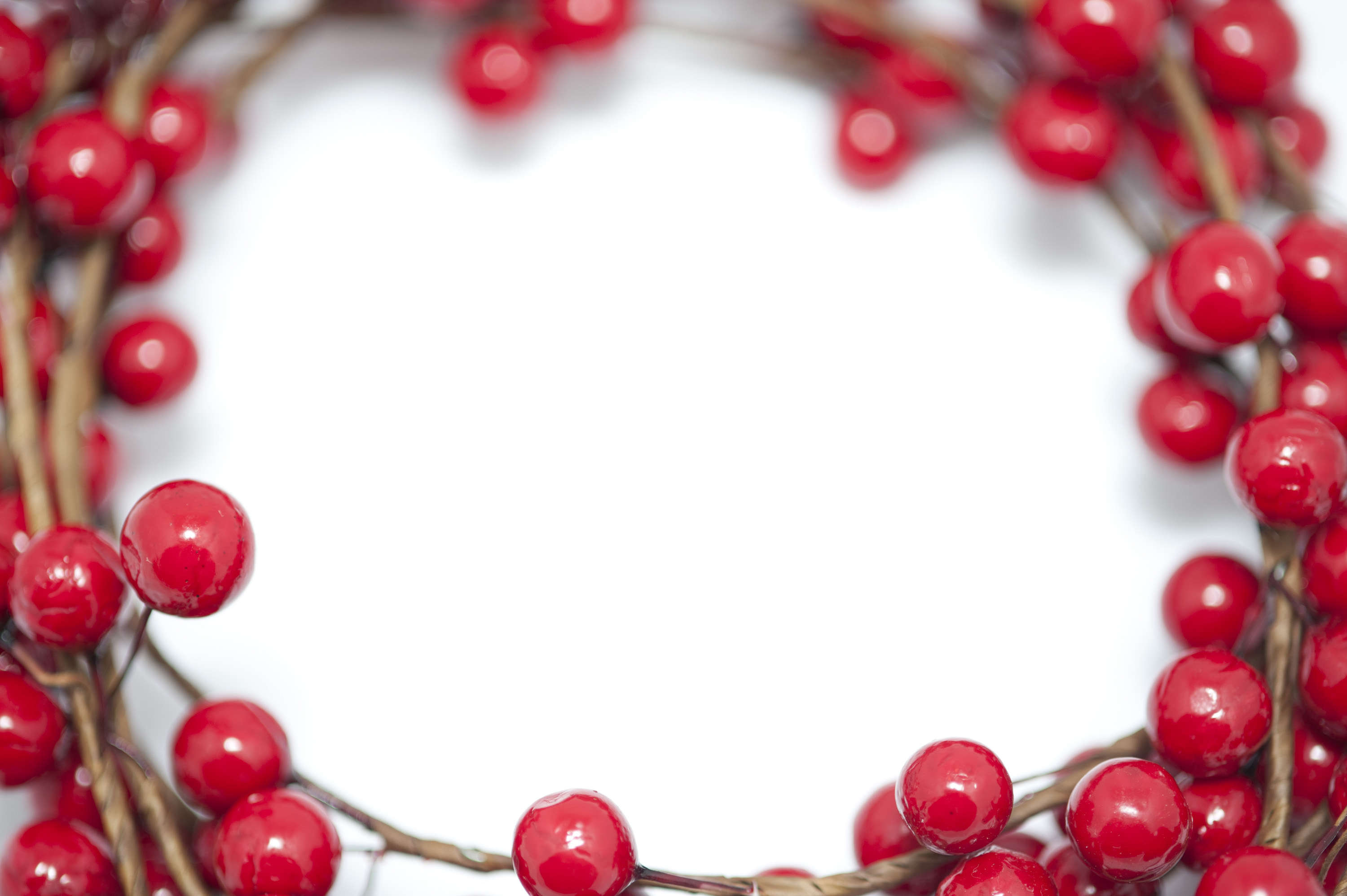 Red berry Christmas border arranged around a central blank white copy space for your seasonal greeting