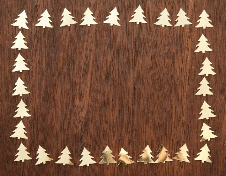 Photo Of Cut Golden Pine Tree Frame Free Christmas Images