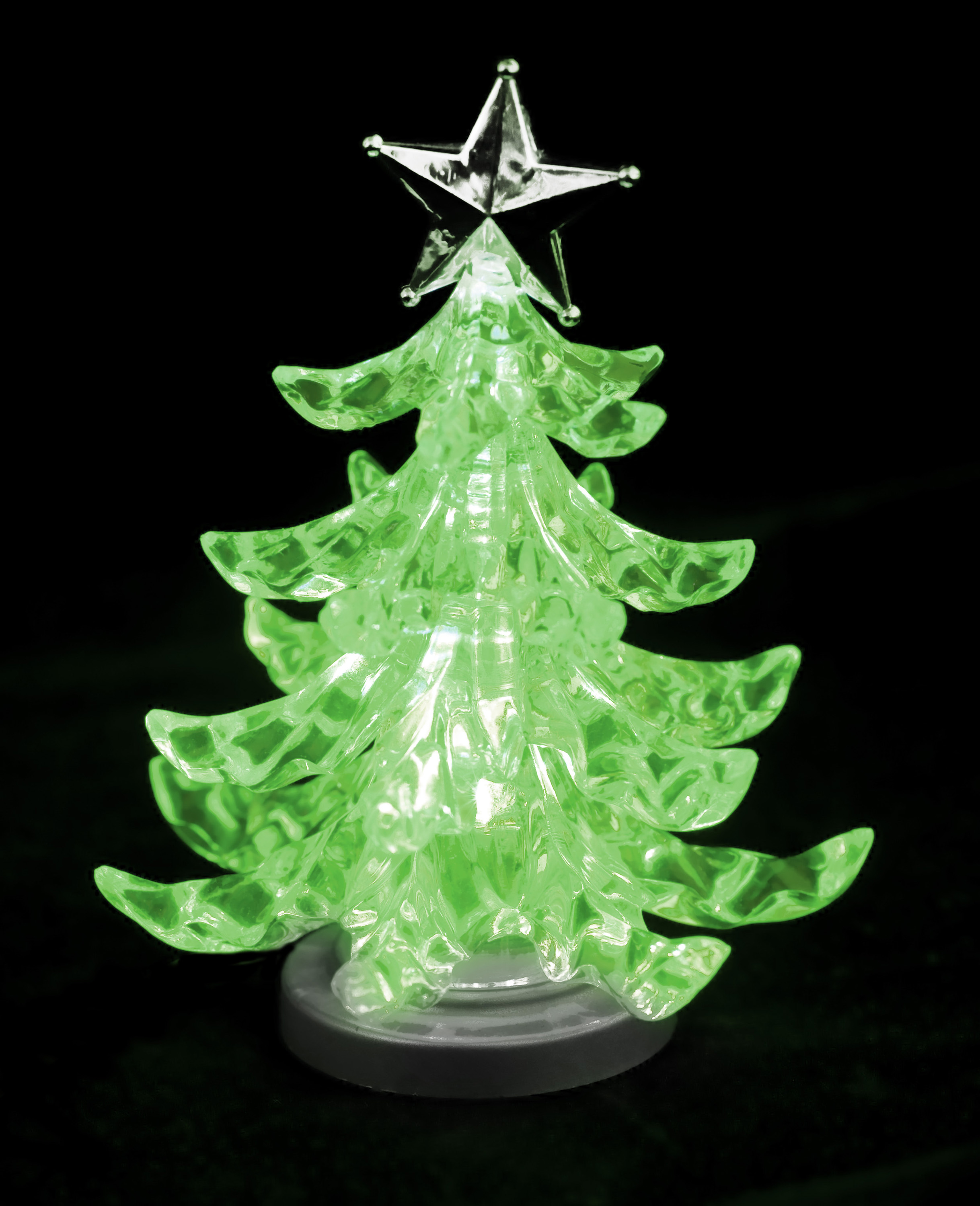 a lime green glowing christmas tree ornament