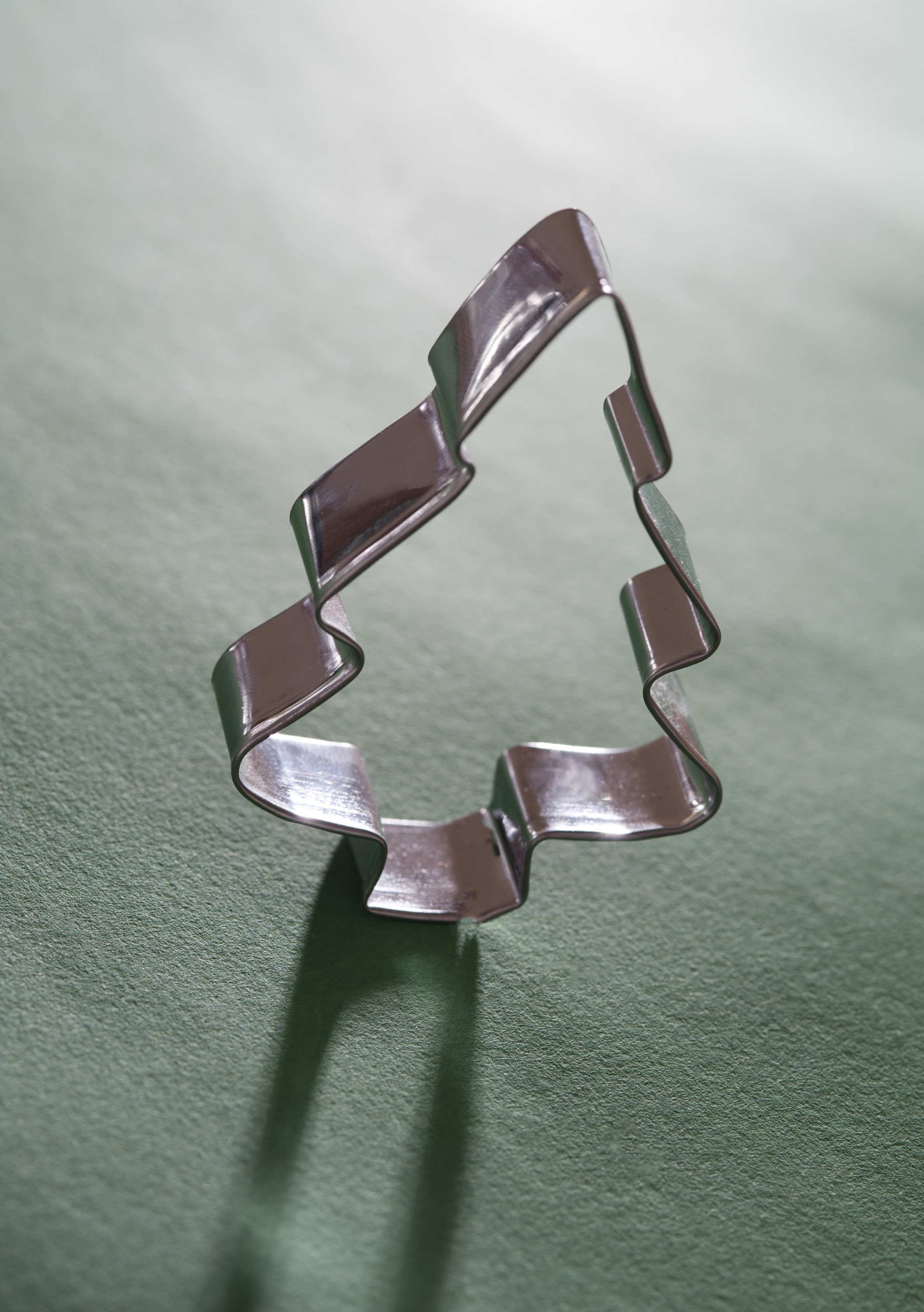 Close-up of Christmas tree cookie cutter