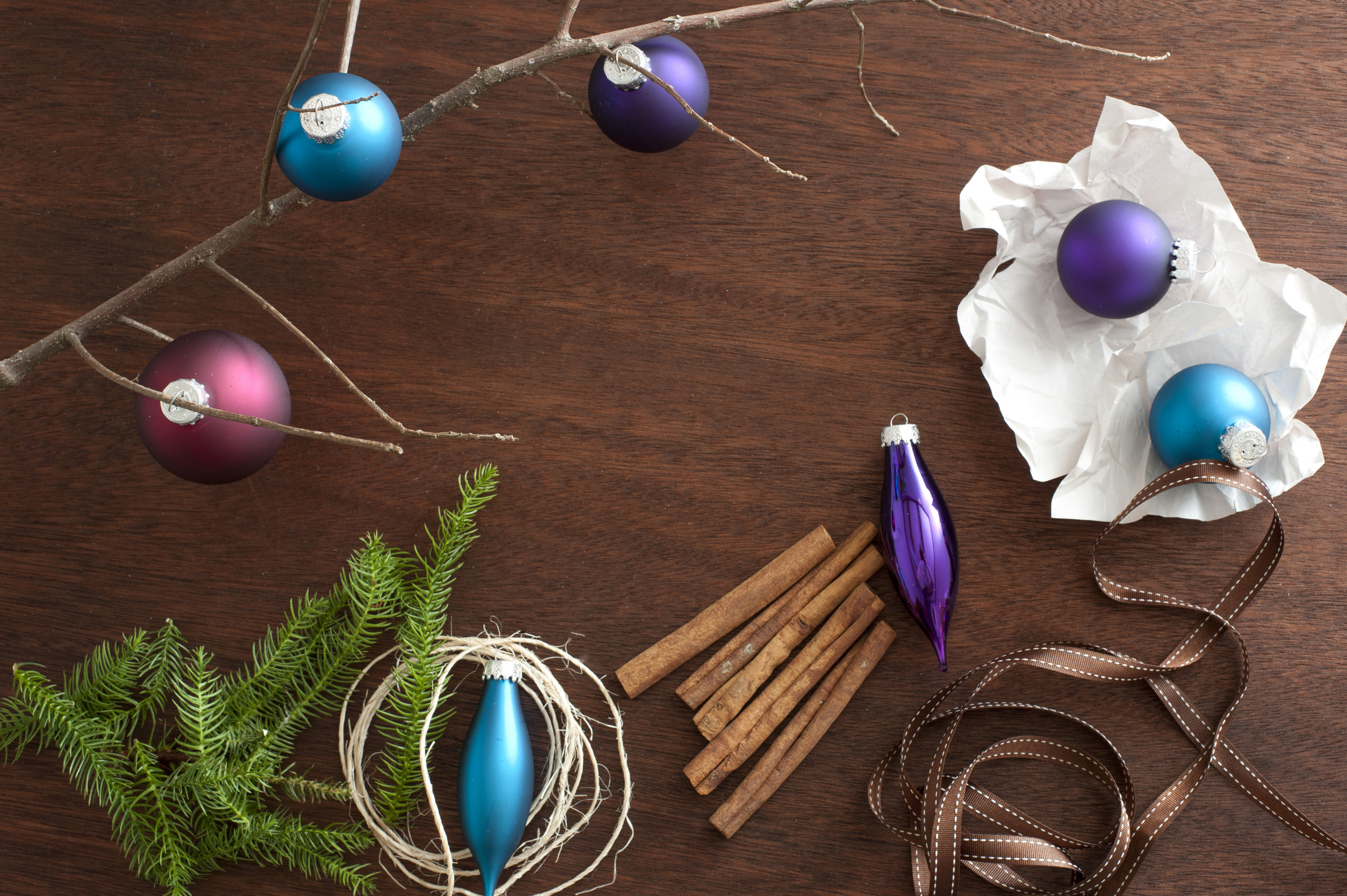 decorating for christmas, an assortment of decorations on a wooden table