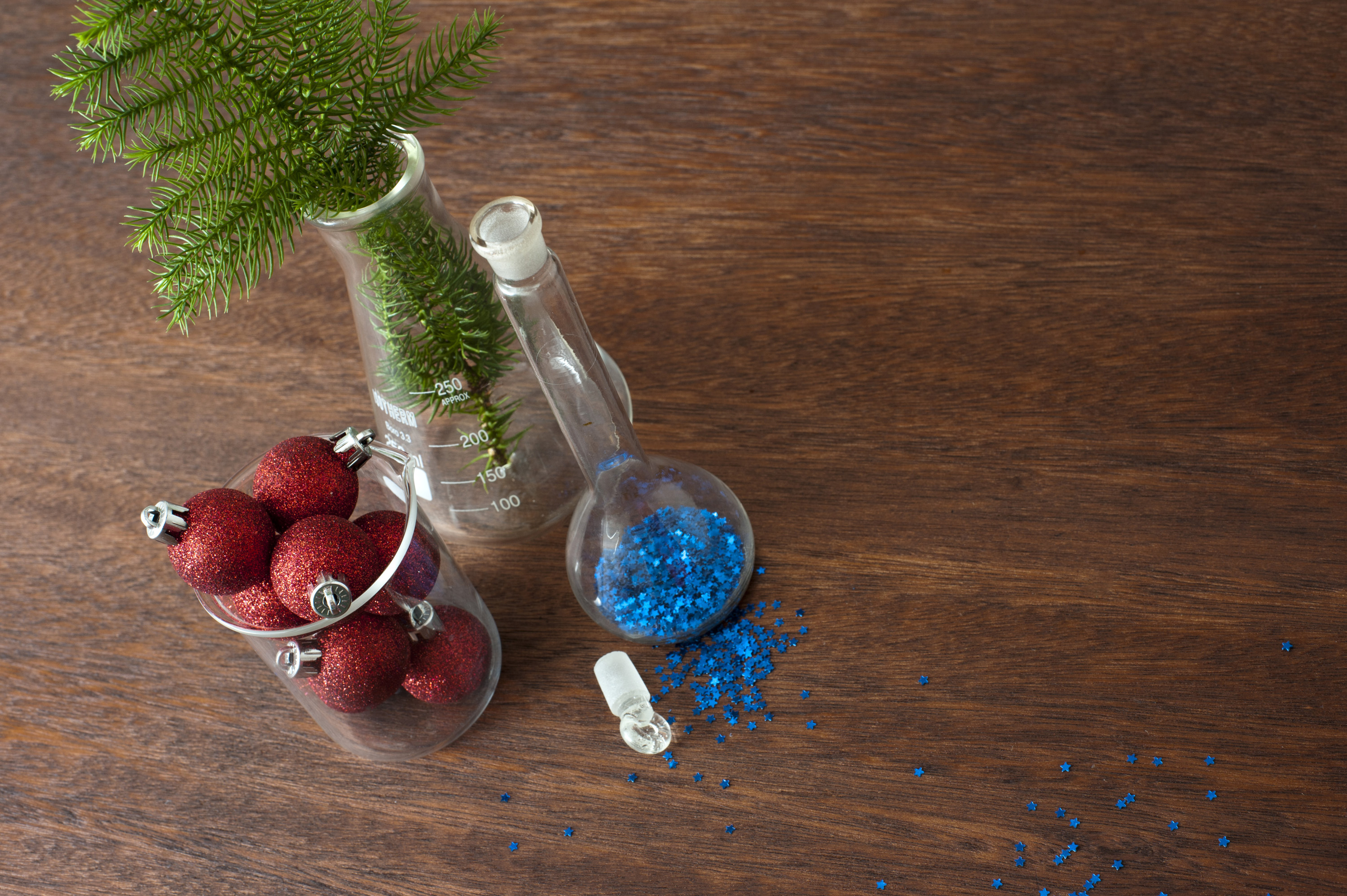 christmas baubles and glitter, a festive science concept
