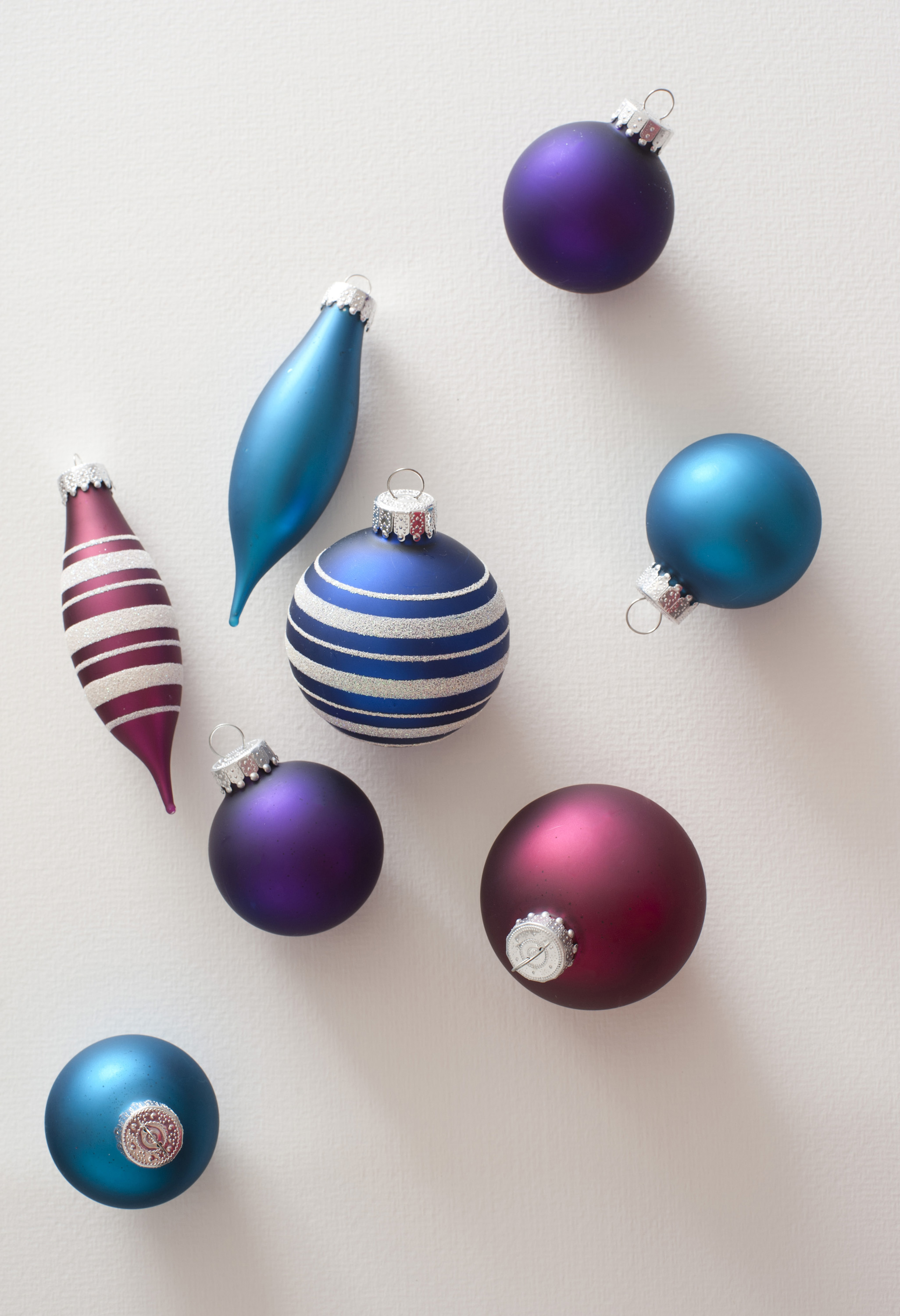 Eight festive glass bauble tree decoration. From above