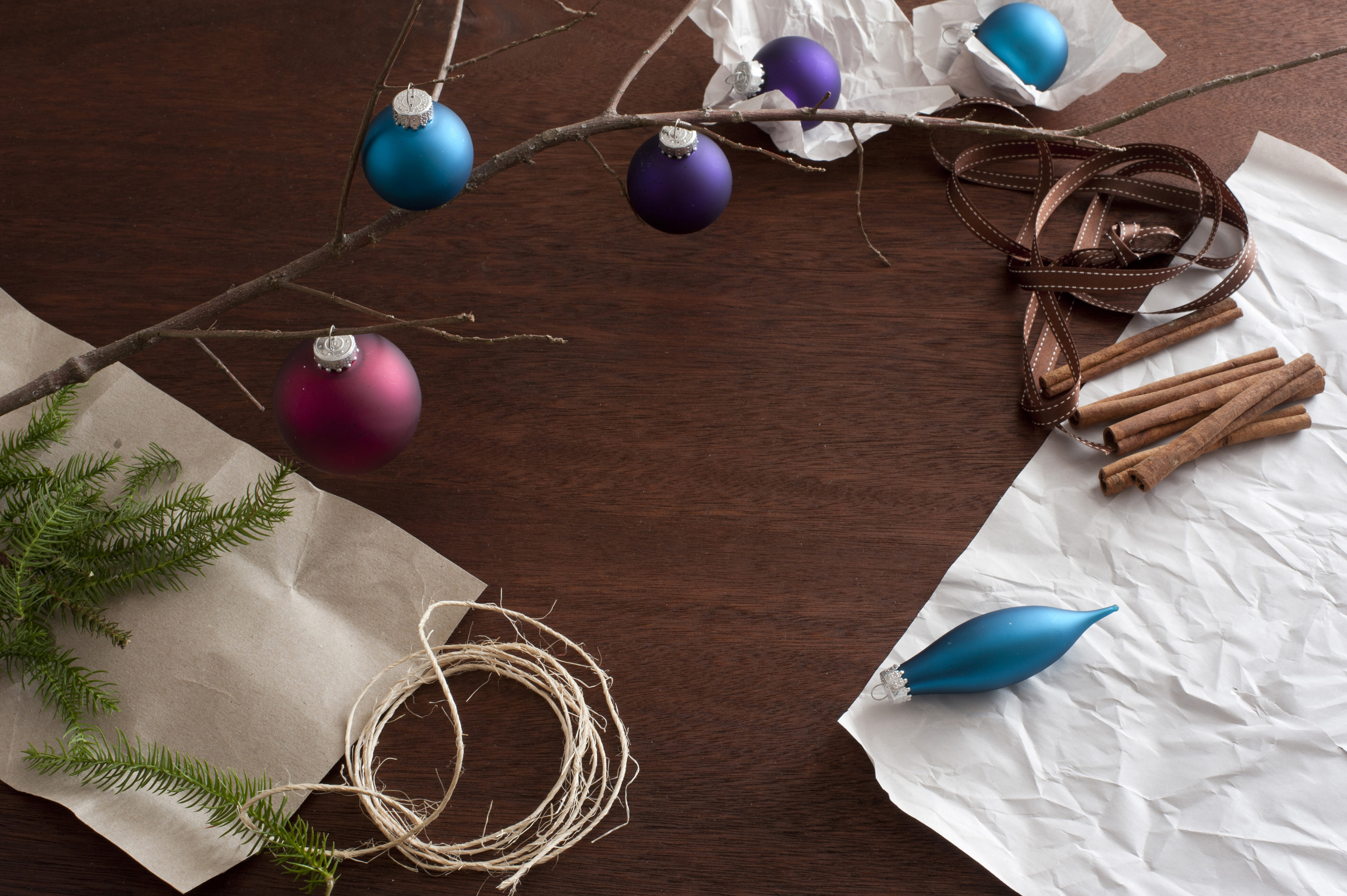 making decorations for christmas, background with copy space containing christmas handy crafts