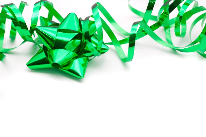 Green Christmas Bow Background Graphics: Photo Of Festive Green Ribbon And Bow
