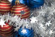 tinsel and bauble still life