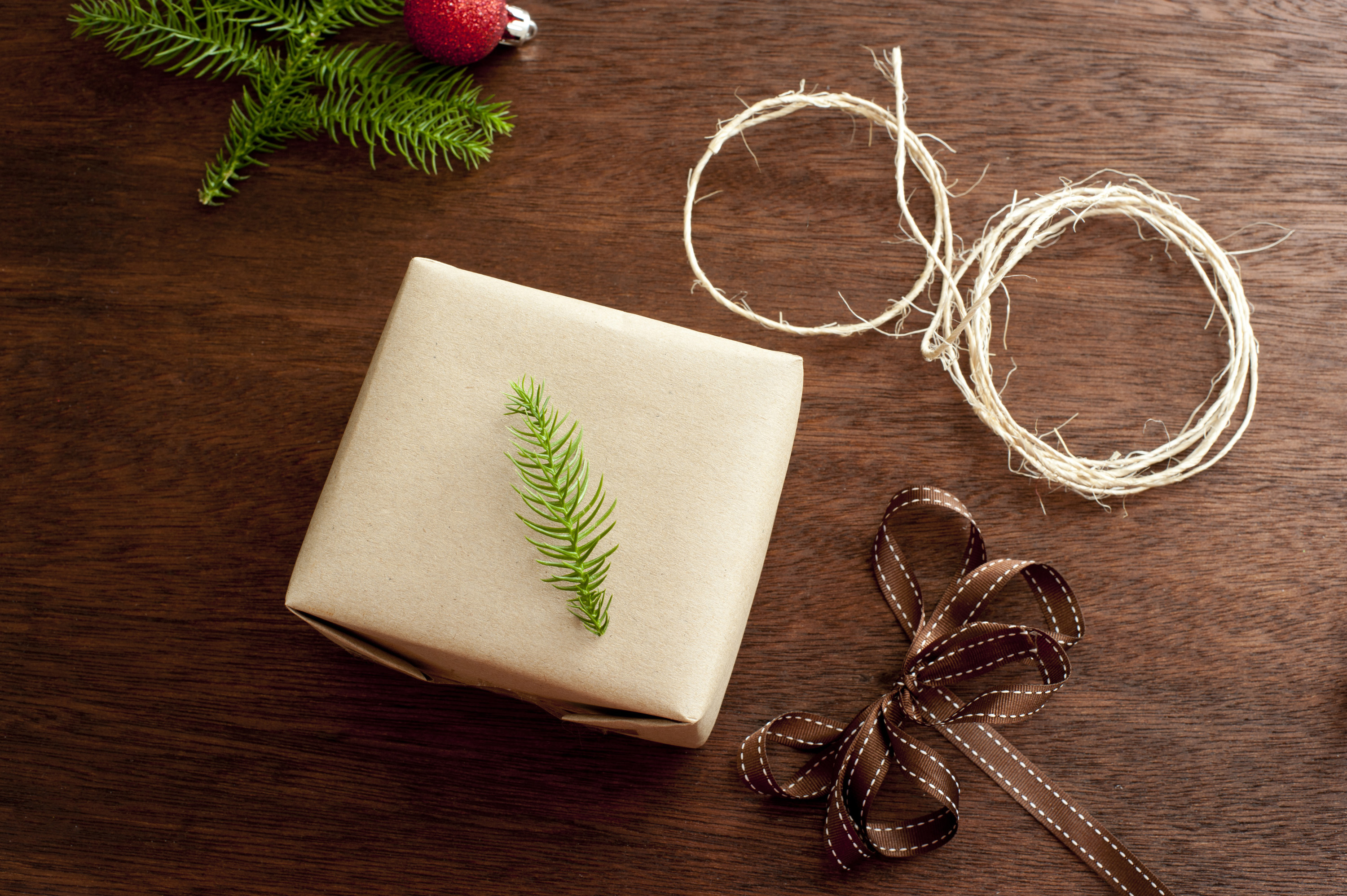 Wrapped Christmas present, brown decorative ribbon, rope and branch of fir tree. From above