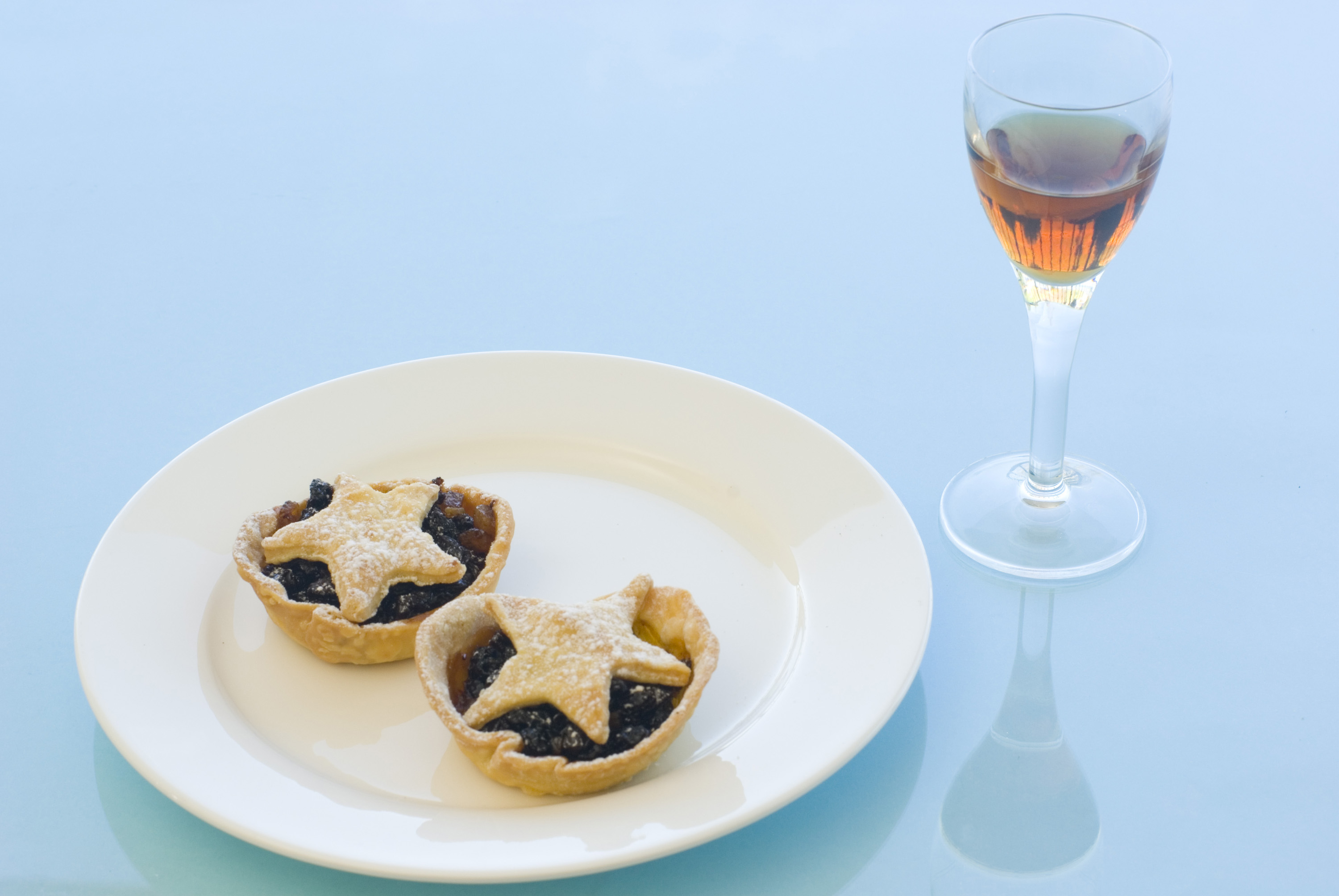 a place with two mince pies and a glass of sherry - christmas for one