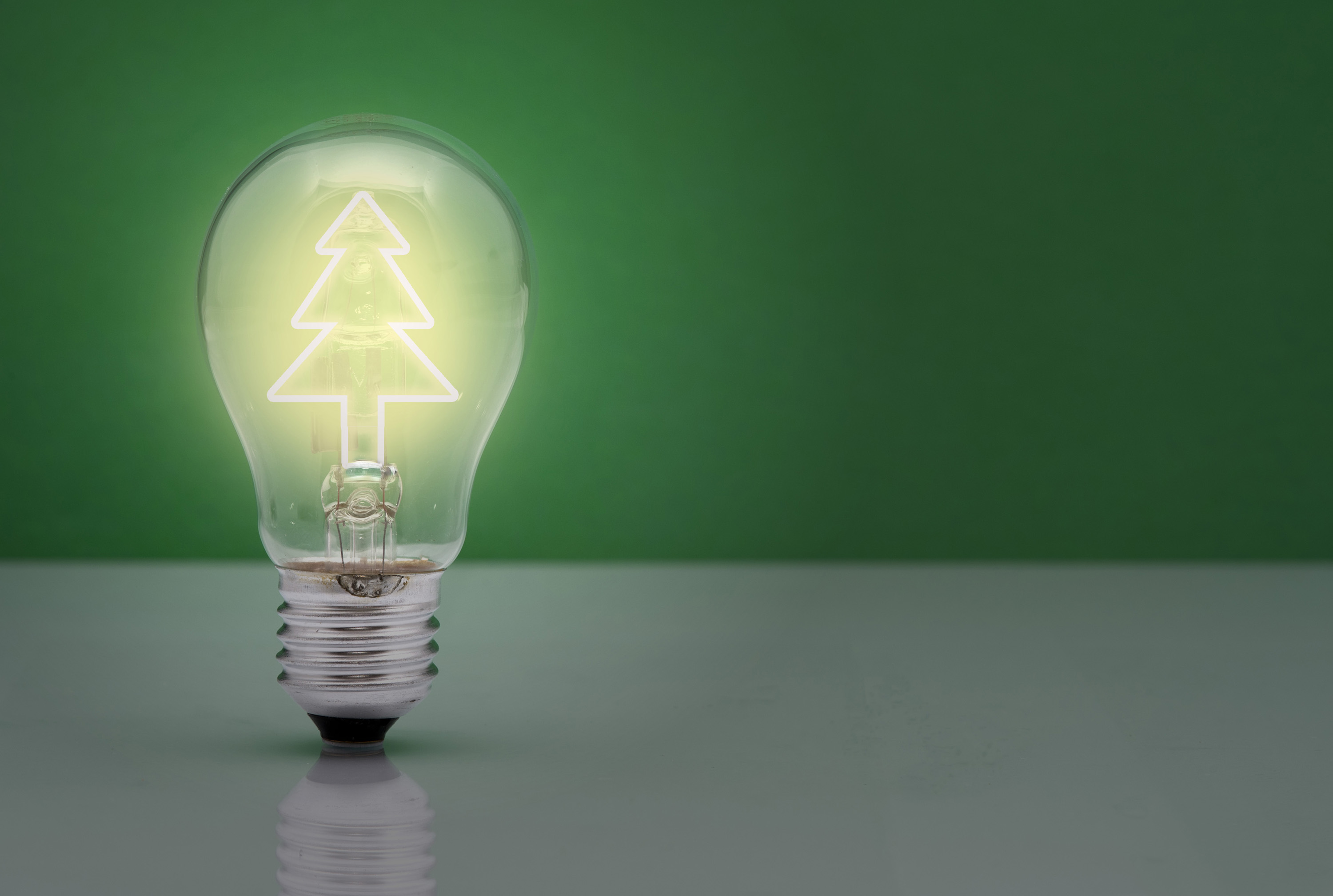 Illuminated light bulb containing a glowing Christmas tree conceptual of Christmas ideas and inspiration with copyspace