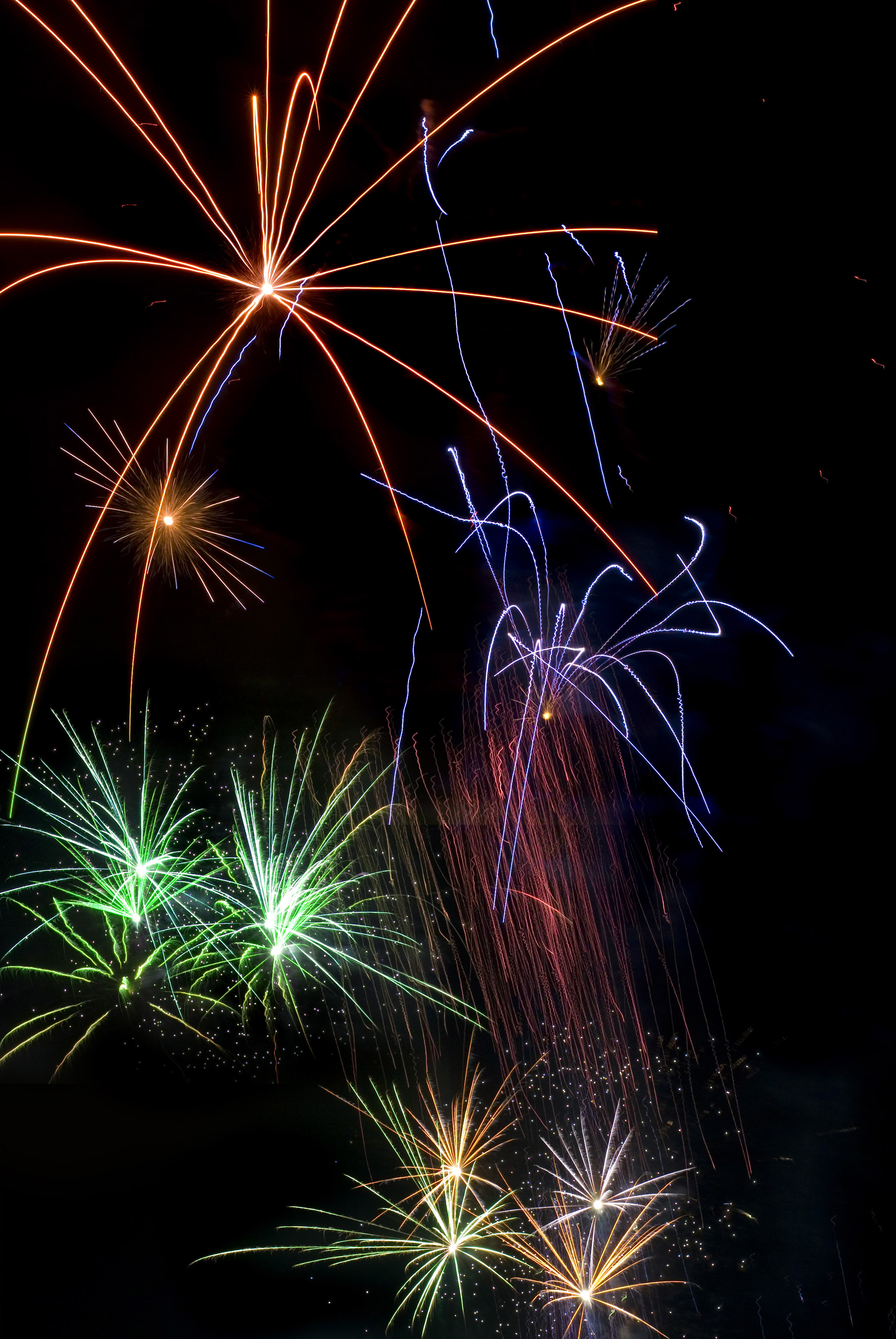 lights trails from rockets at a spectacular pyrotechnic display to welcome in the new year