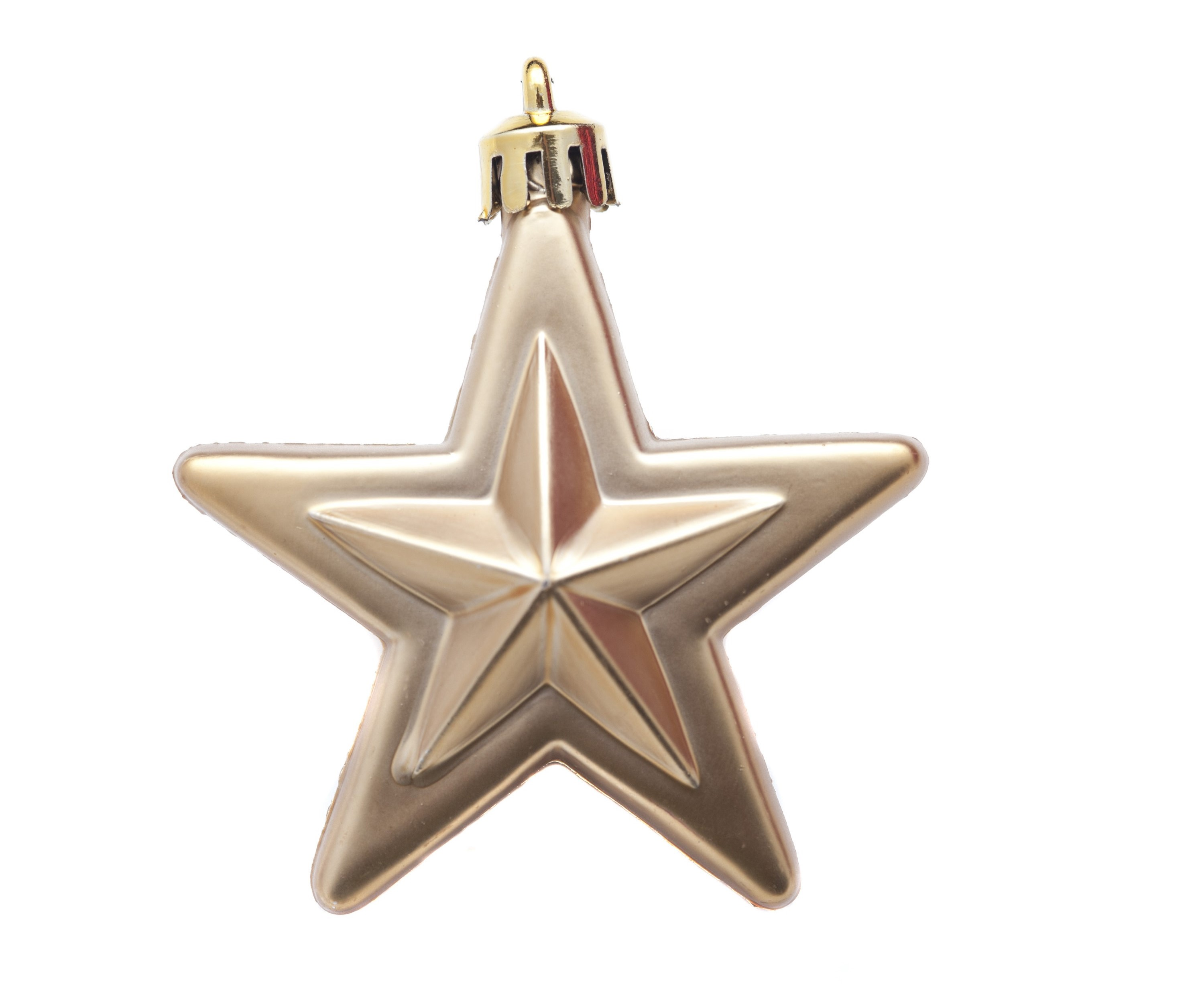 Isolated gold Christmas star hanging ornament on a white background
