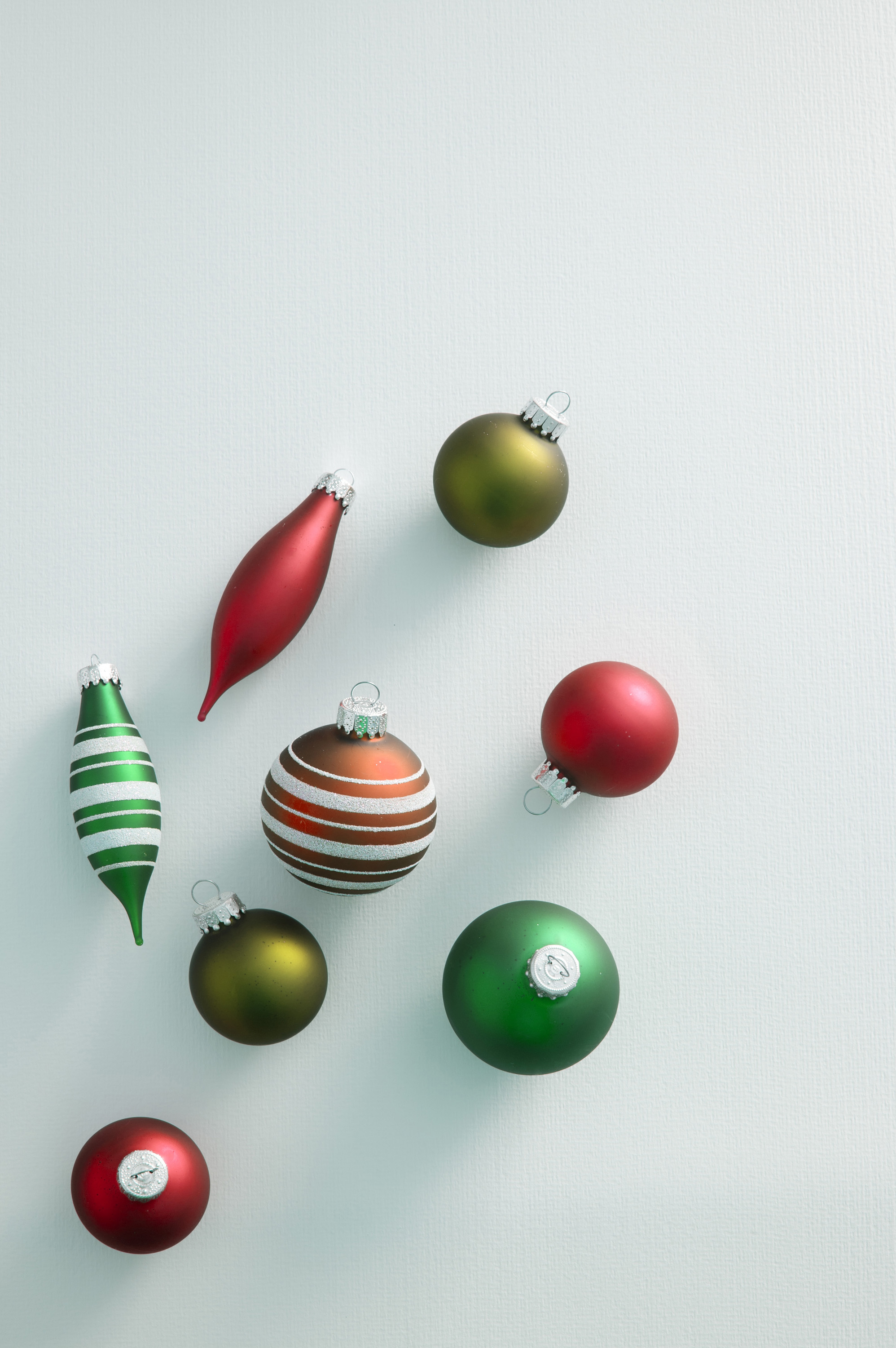 Green and Red Christmas baubles