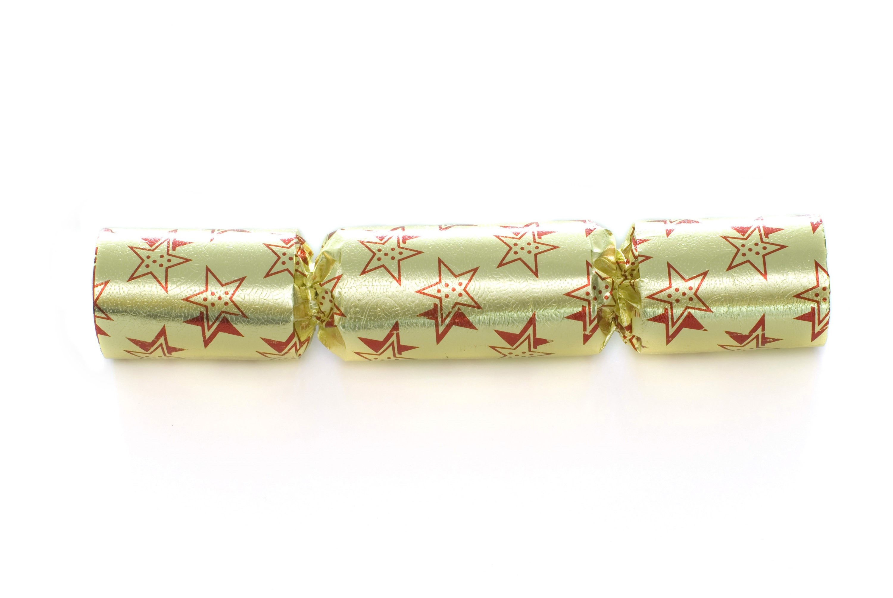 A yellow metallic christmas cracker isolated on a white backdrop