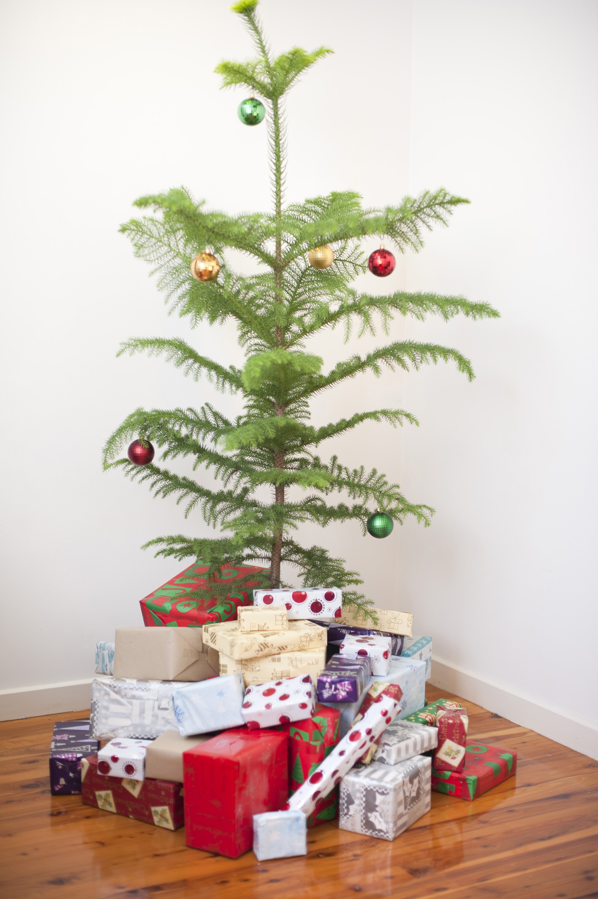 Modern simple natural Christmas tree decorated with colourful baubles and surrounded by a heap of gift-wrapped presents for a family celebration