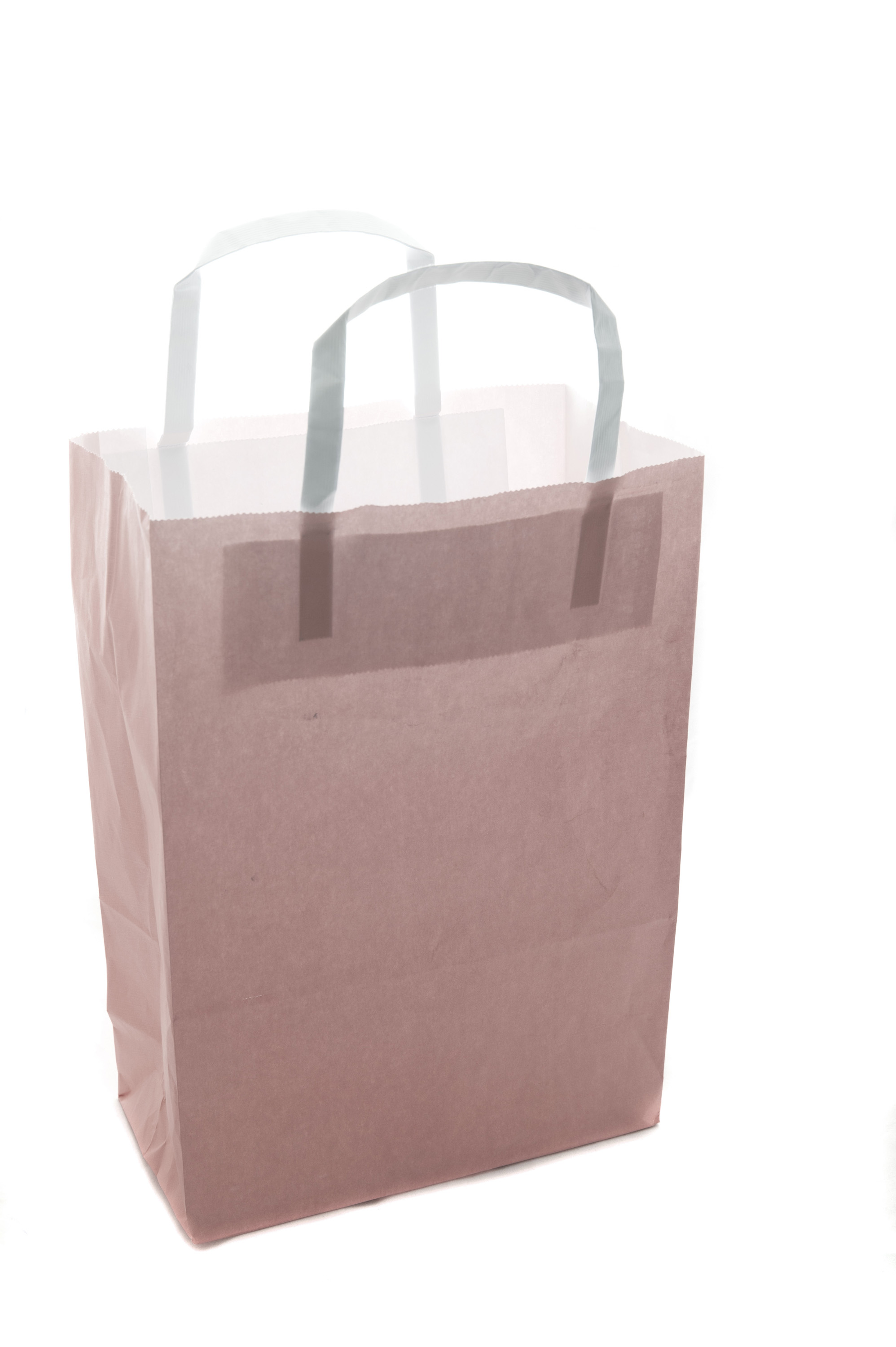 Plain brown paper carrier or shopping bag isolated on white with blank copy space for your branding or advertising