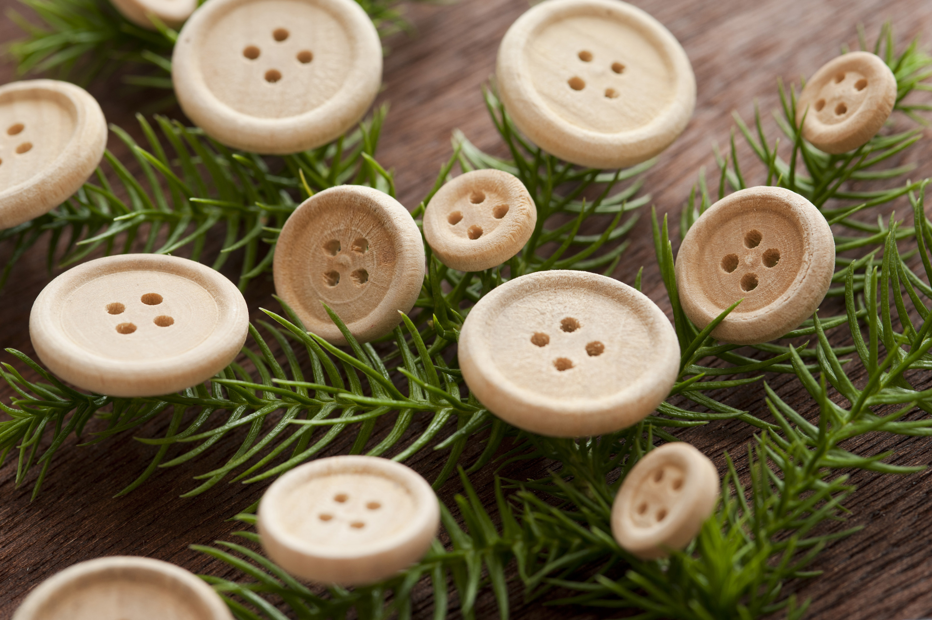 traditional christmas decorations a fir branch with wooden buttons