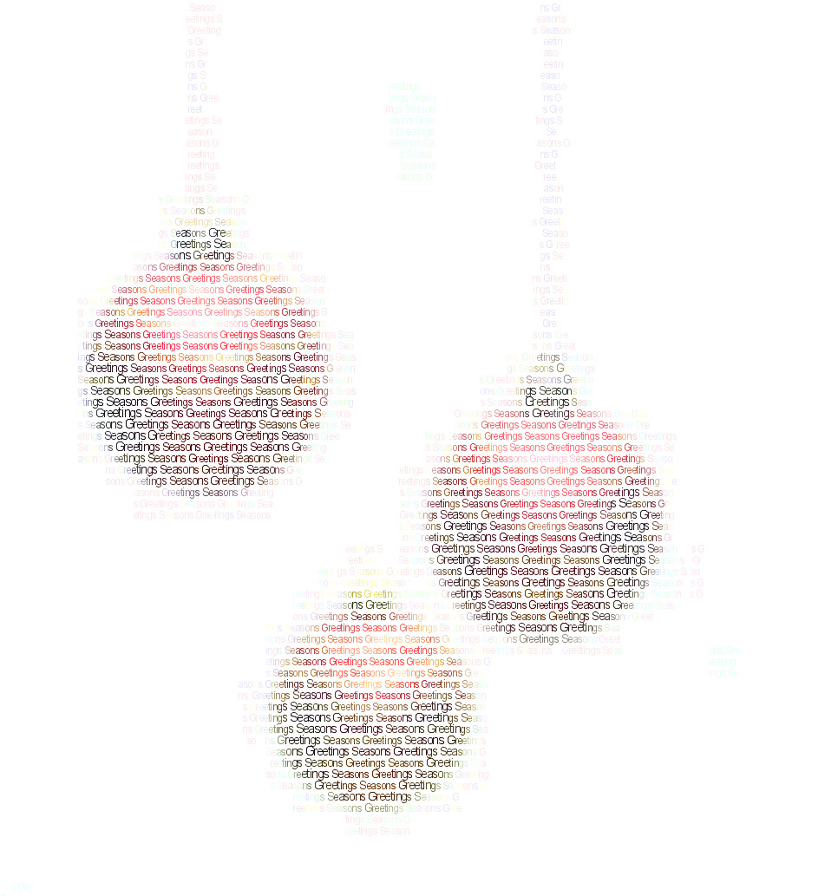 christmas ball ornaments created from strings of text spelling seasons greetings