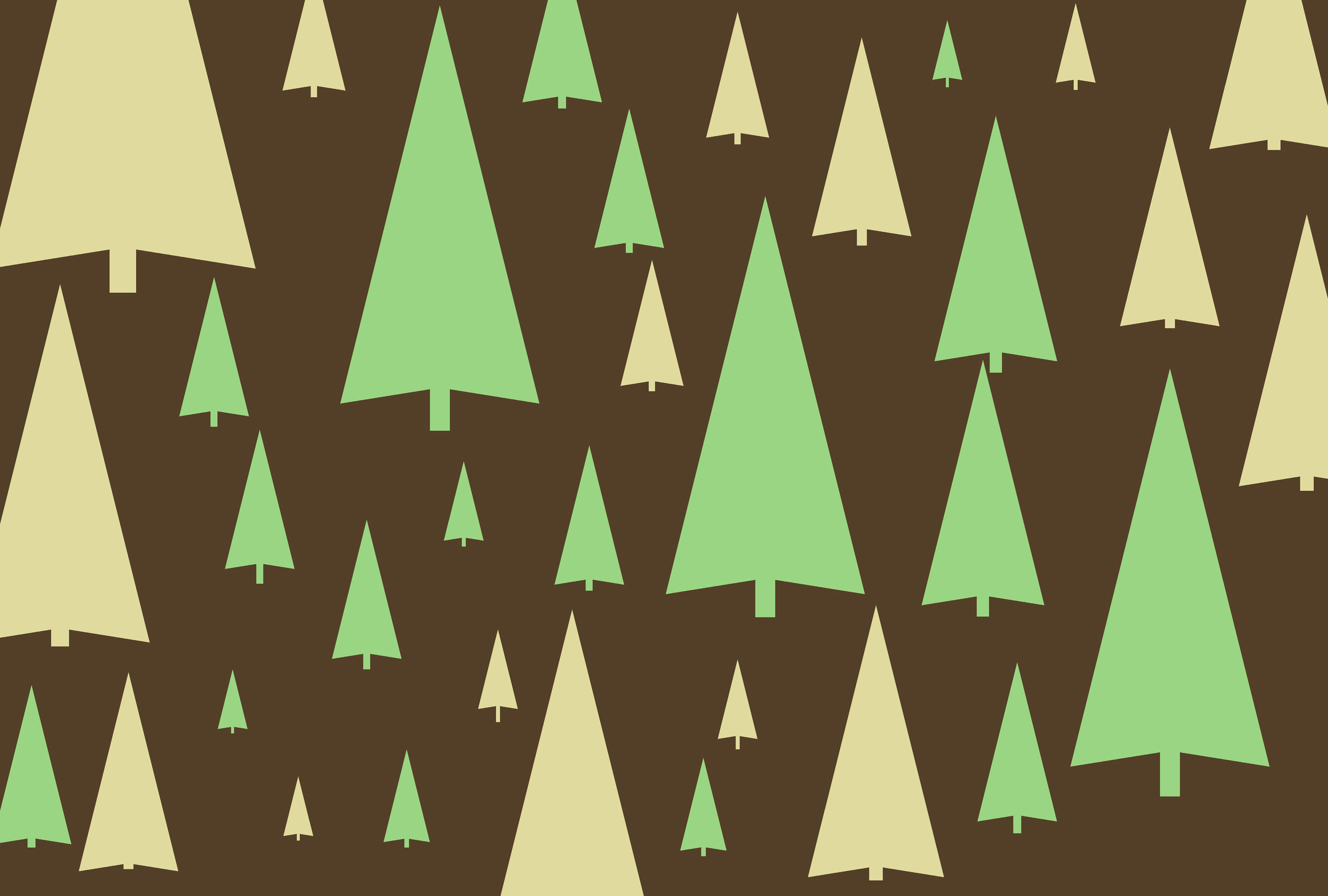 pine tree symbols create festive christmas themed backdrop with a stylish brown and muted greens and yellow palette