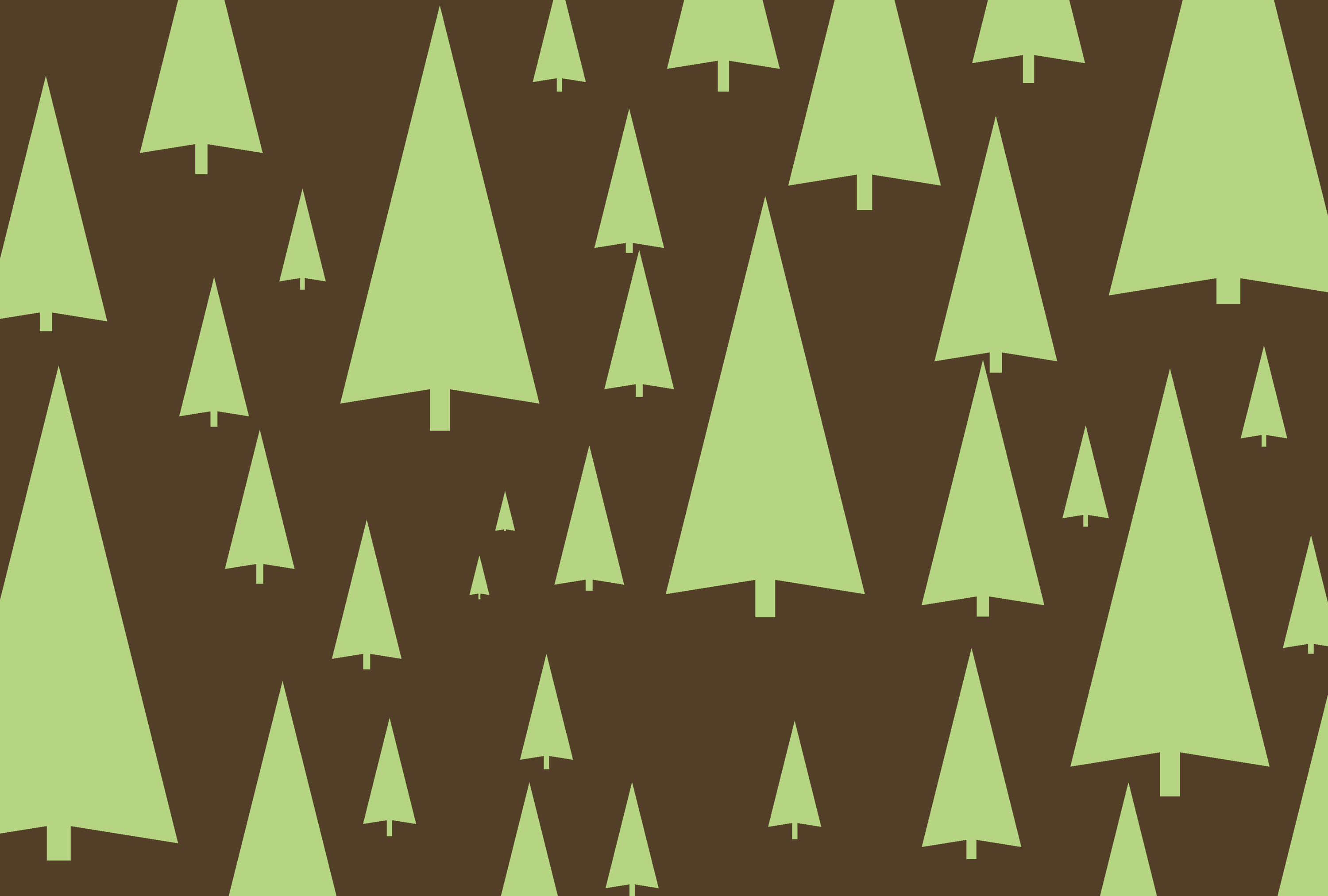 a brown background with green tree symbols make a tastefull festive backdrop