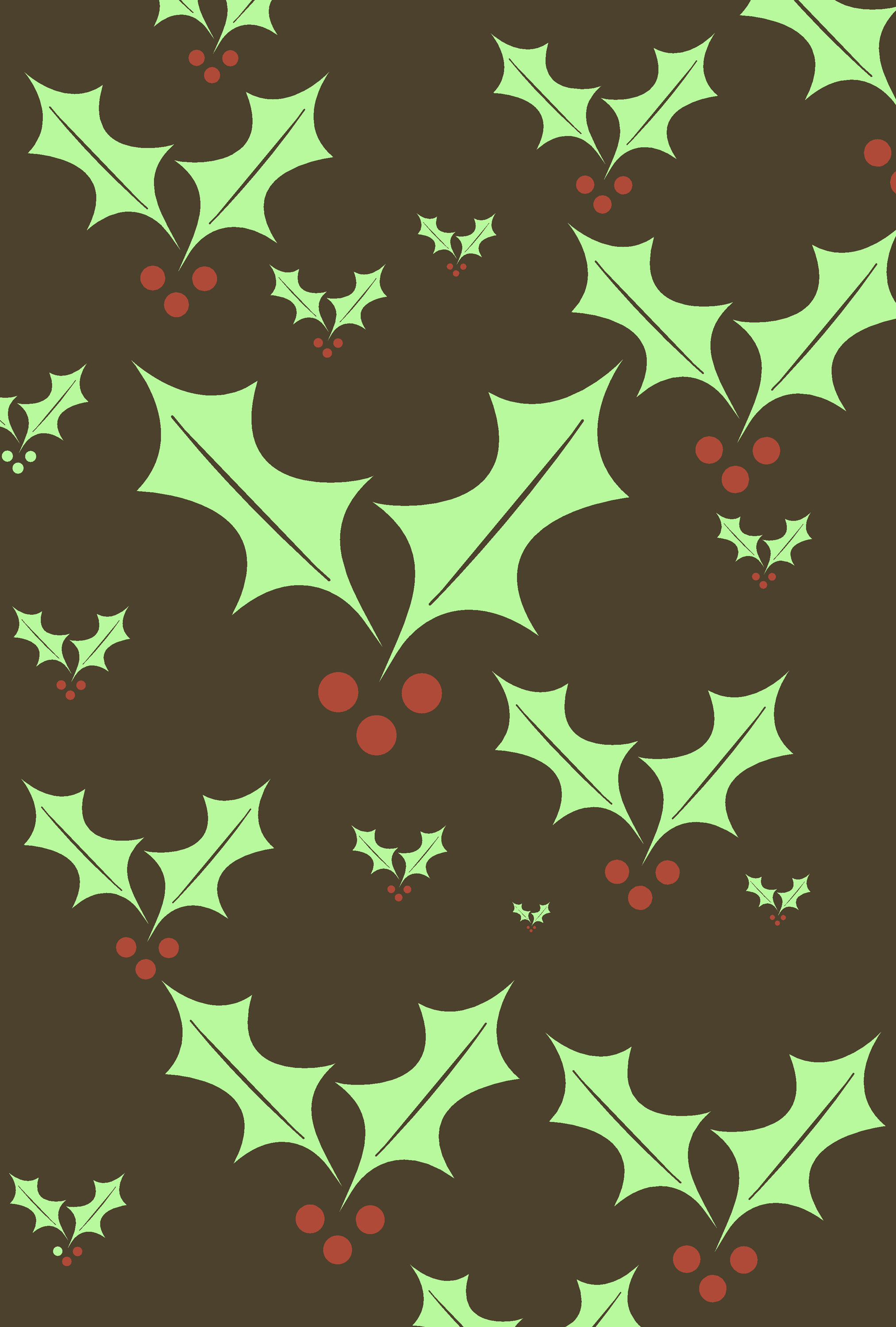 a pattern of varying sized holly symbols with red berries creates a useful christmas background