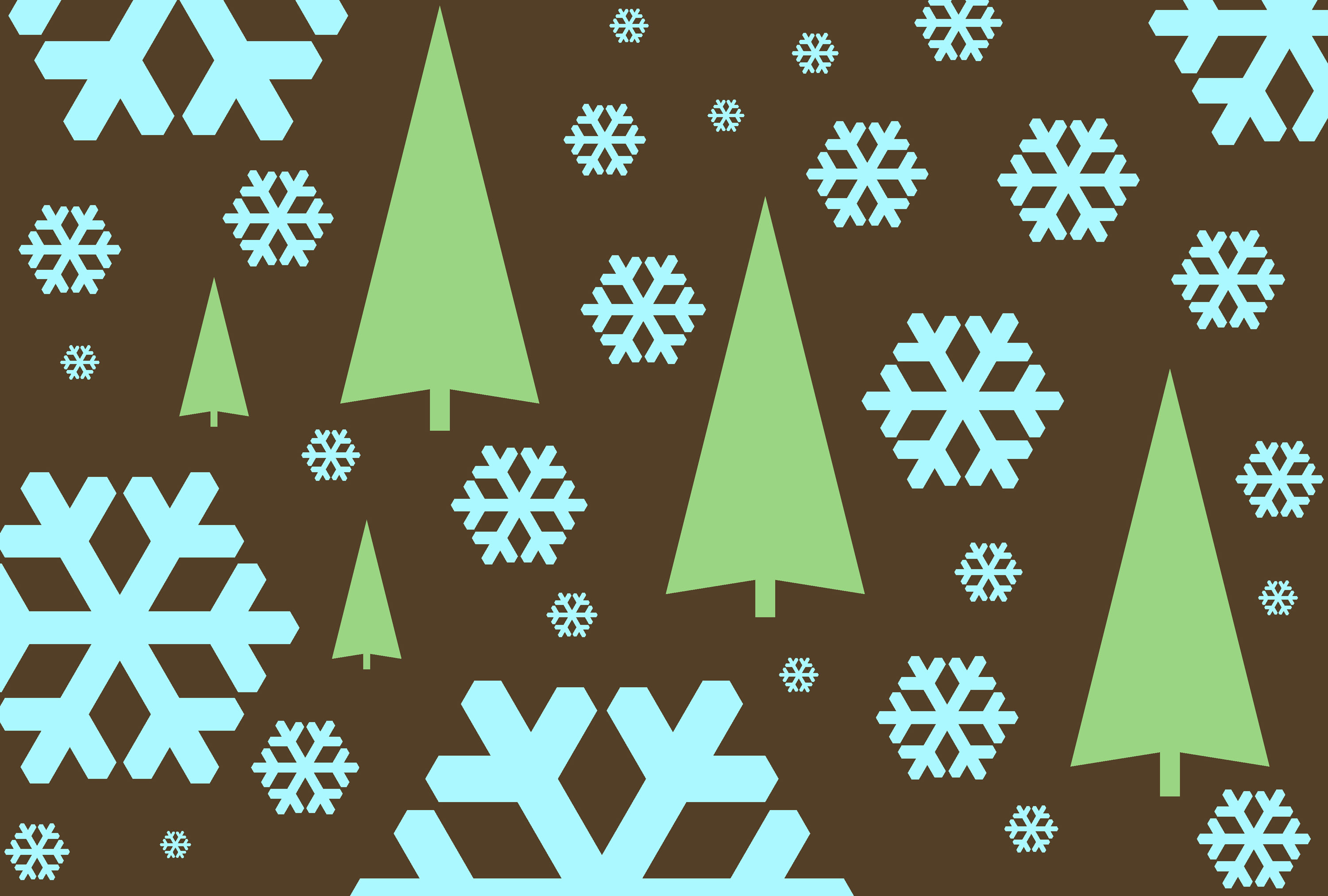 snowflake symbols and tree create festive winter themed background
