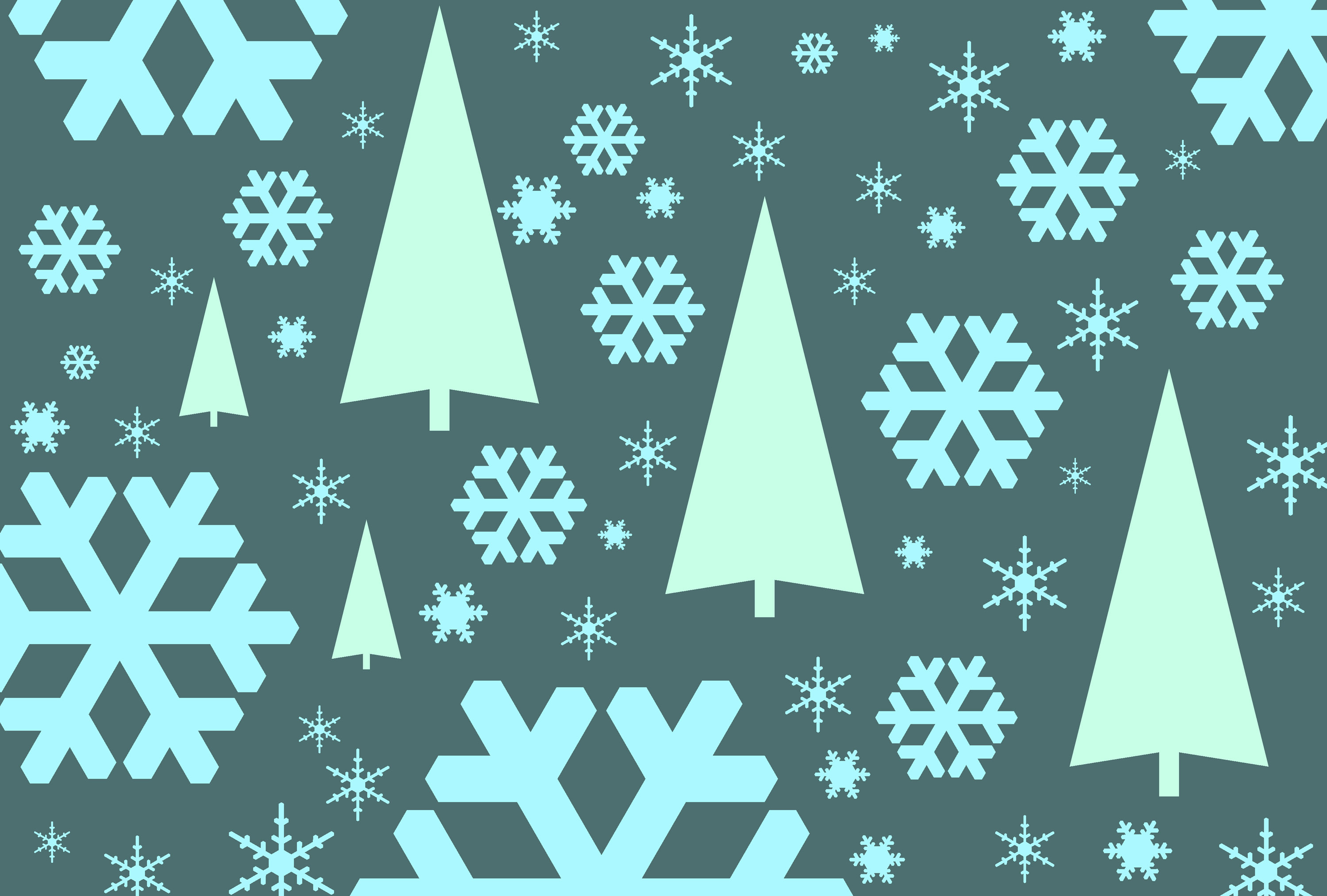 holiday backgrounds, a graphic tree and falling snowflake symbols