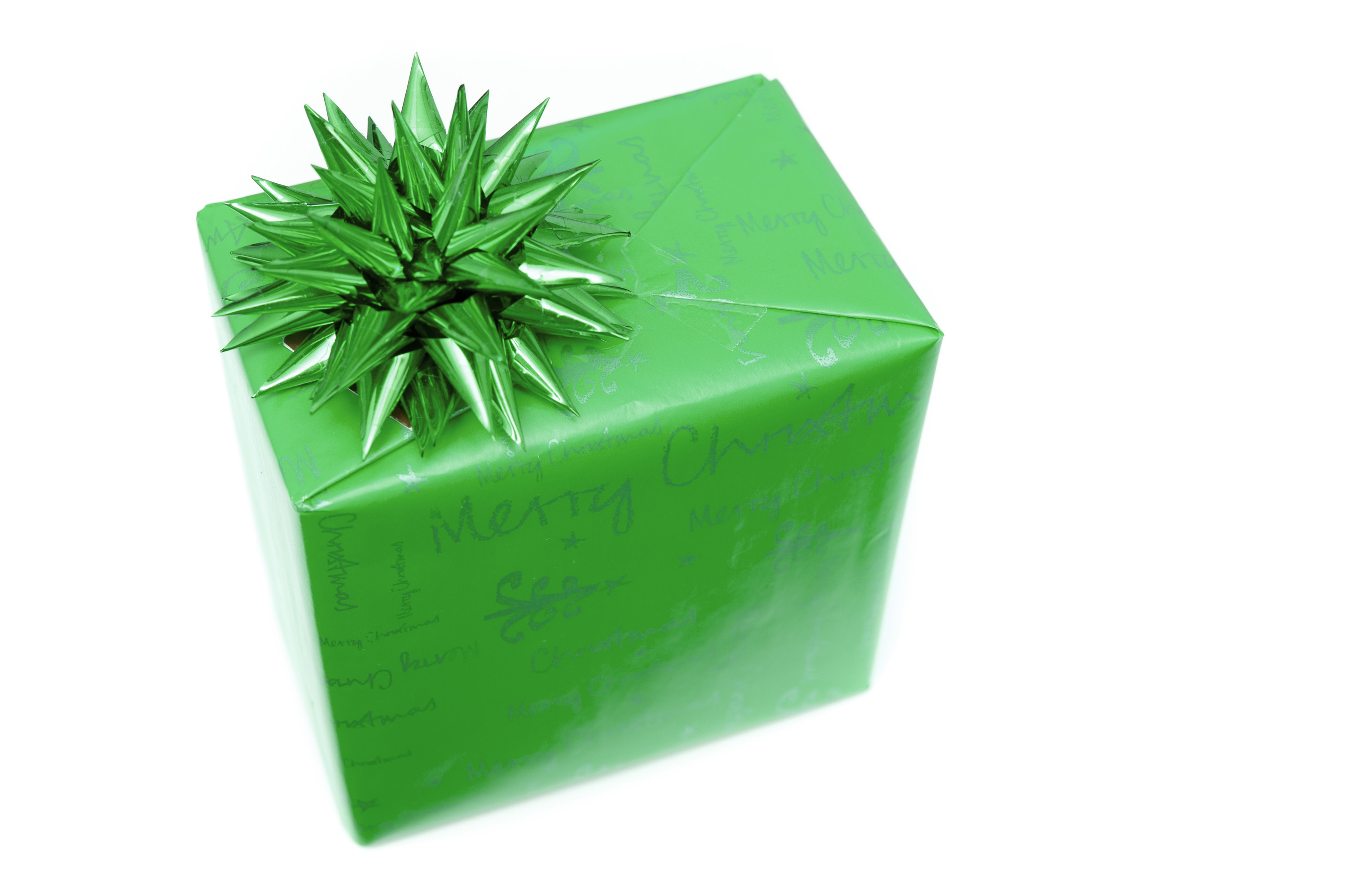 photo of single green gift wrapped box with bow