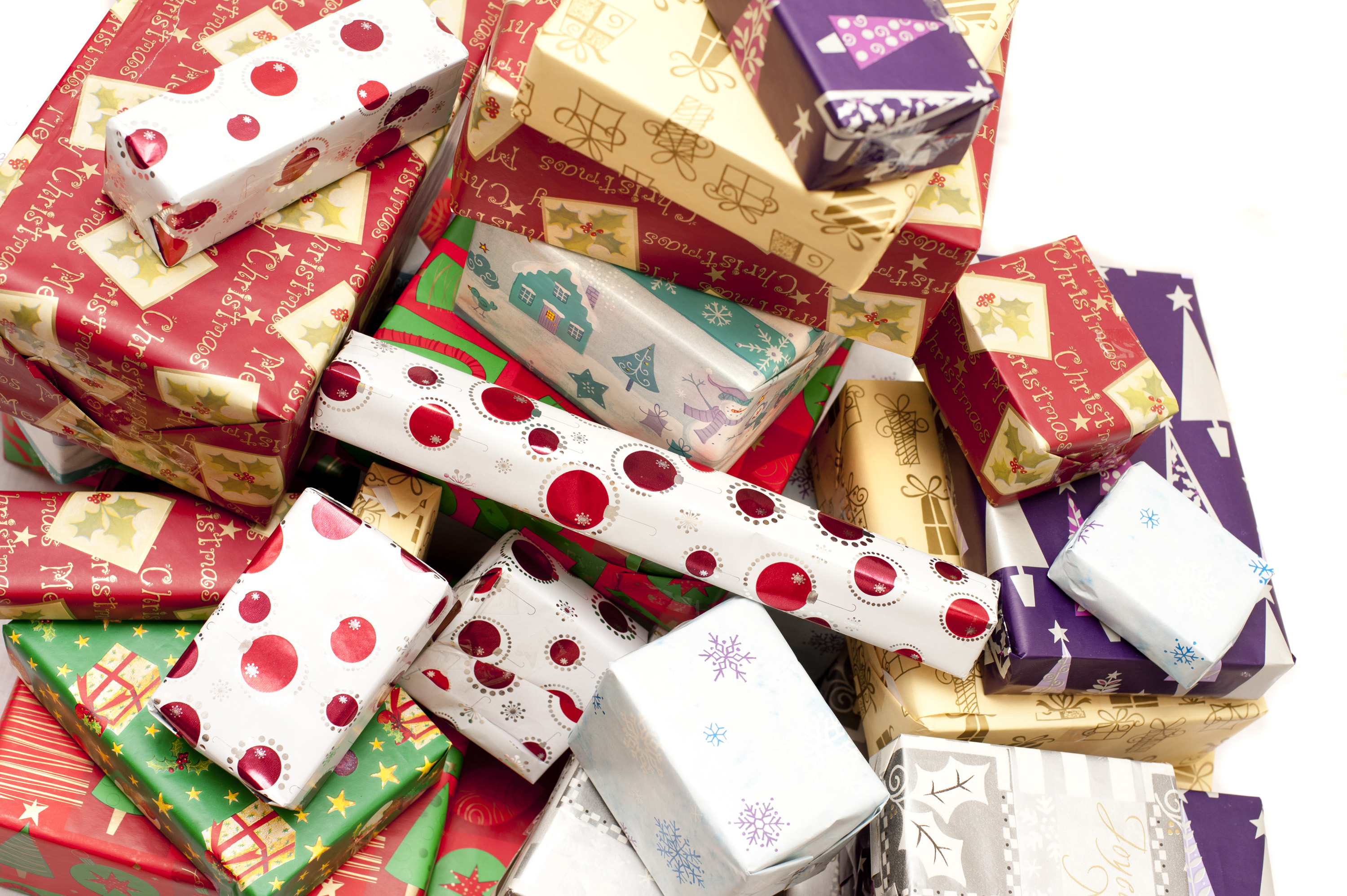 christmas gifts background paper piled colorful presents pile wrapped decorative patterned creative commons heap seasonal boxes christmasstockimages