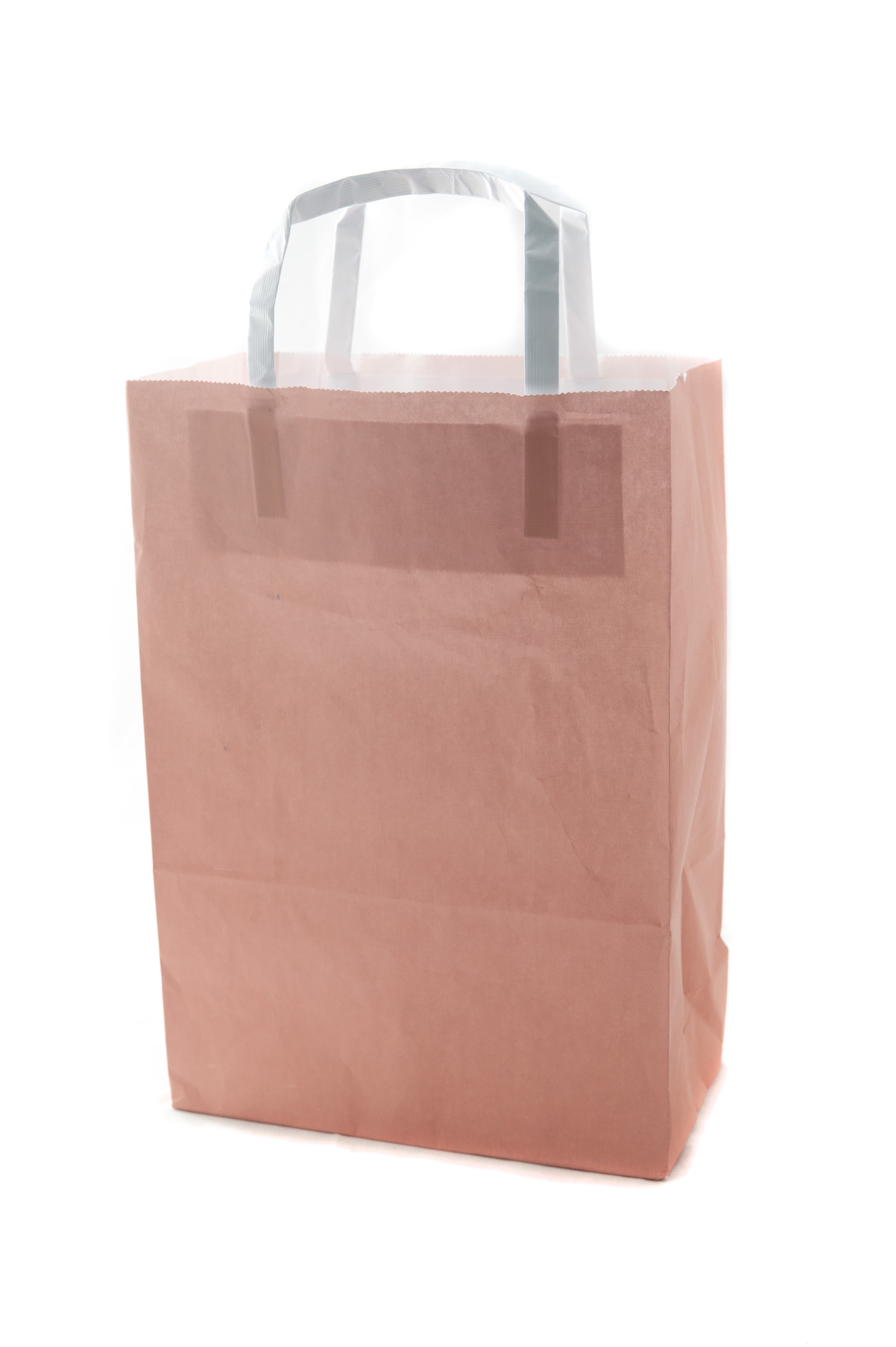 Brown paper gift or carrier bag suitable to be recycled with handles and copy space for branding isolated on white