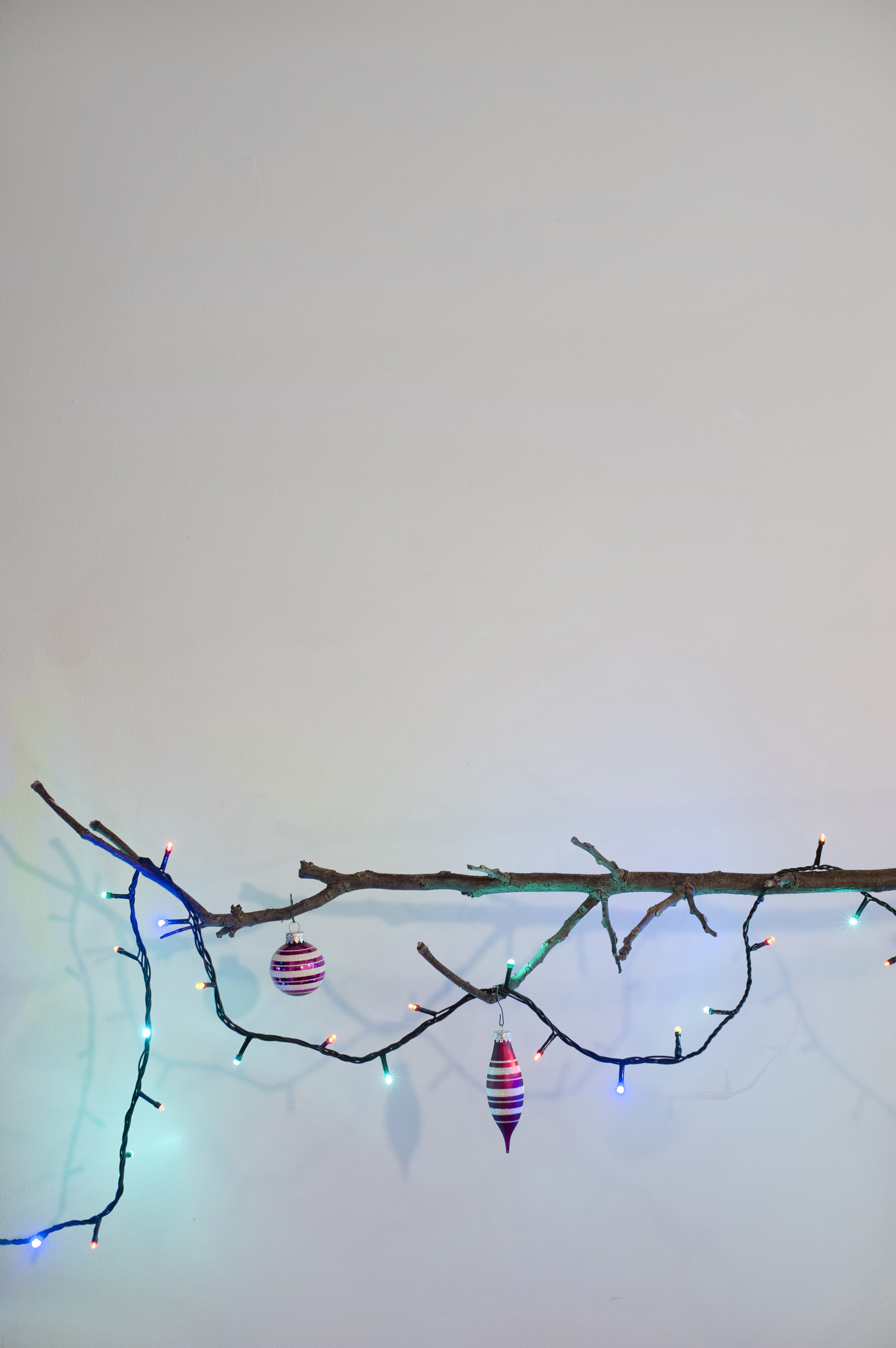 Christmas tree balls and lighted garland on leafless branch. Concept. Copy space