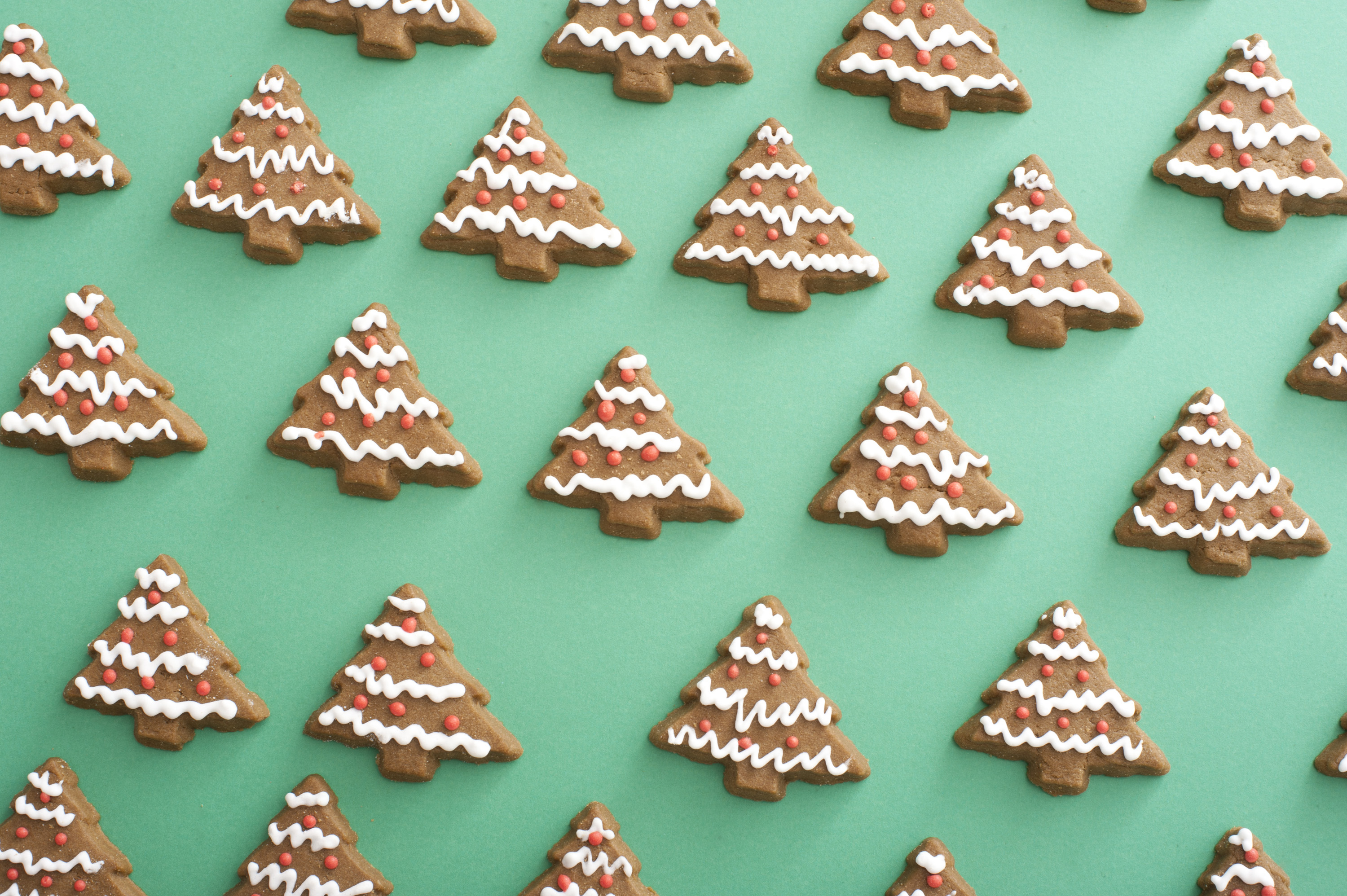 Photo Of Festive Gingerbread Christmas Tree Biscuits Free