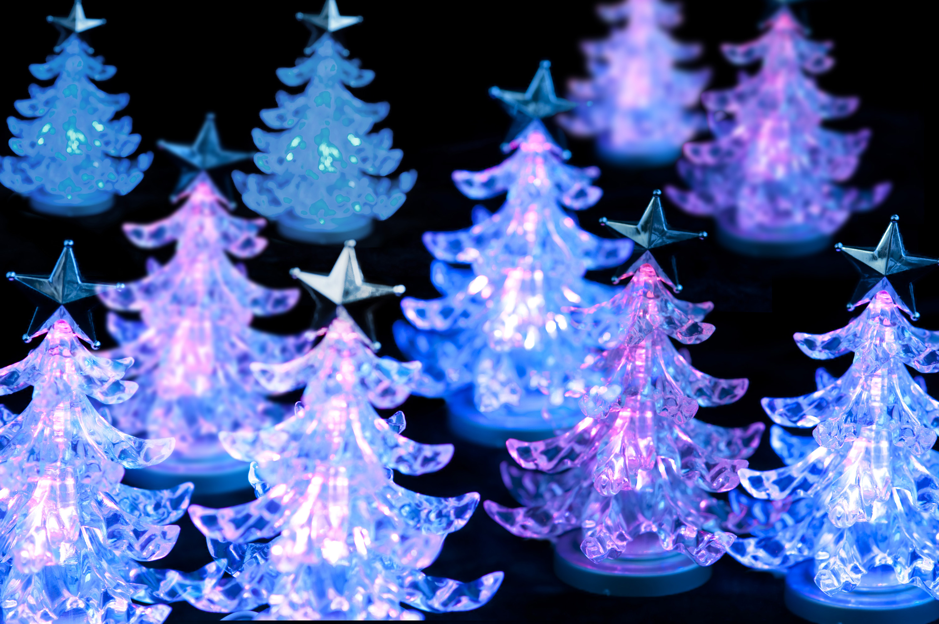 a forest of LED christmas trees, glowing blue and pink on a black background