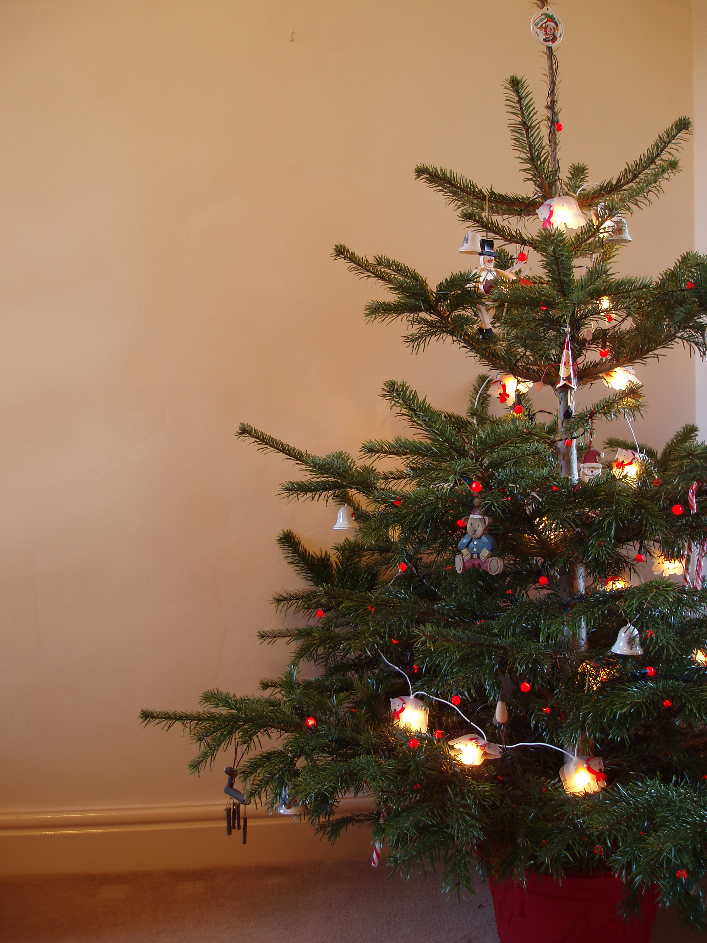 a traditional christmas tree with red berry lights and hanging decorations