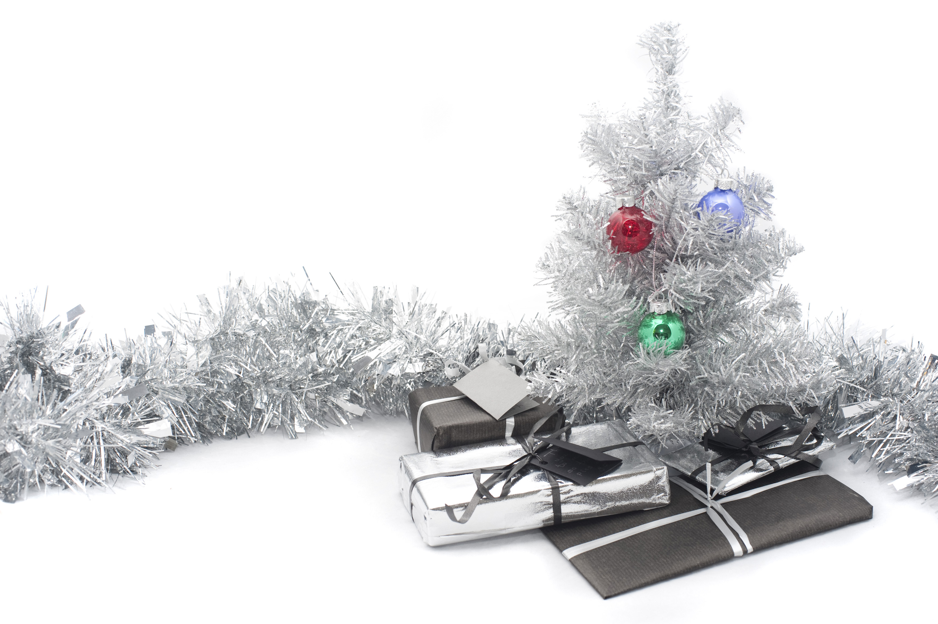 Christmas tree all silver decorations and gifts