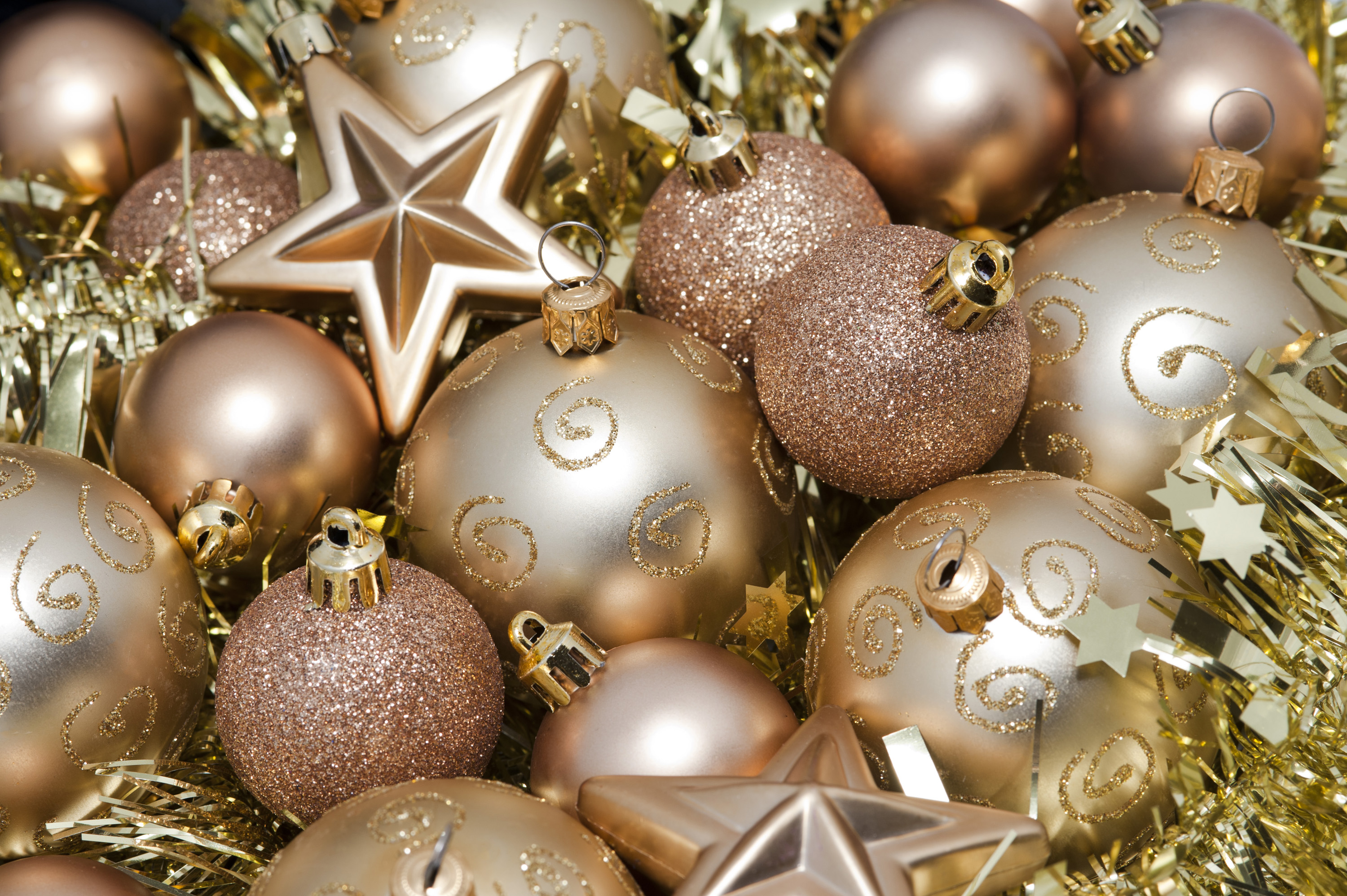 Superb High End Christmas Ornaments Part - 10: Photo Of Gold Christms Baubles And Stars Free Christmas Images. Vibrant High  End Christmas Decorations Majestic Seven Ideas To Organize Your Own Luxury