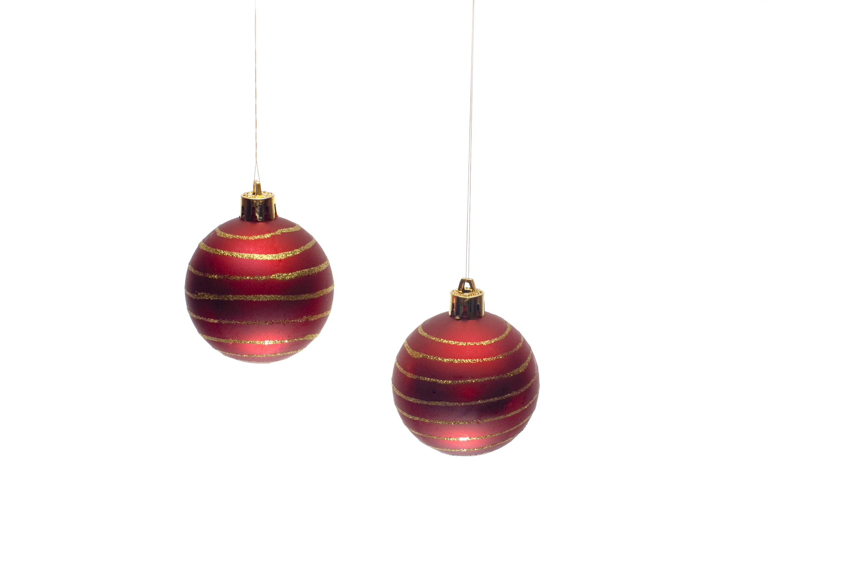 two red hanging christmas baubles - Christmas Hanging Decorations
