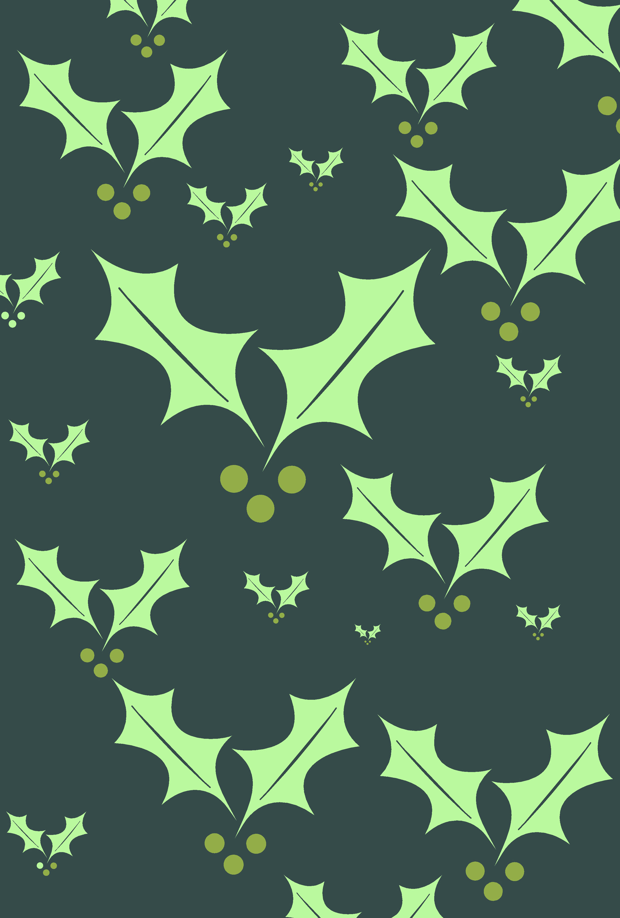 a pattern of varying sized green holly symbols creates a useful christmas background